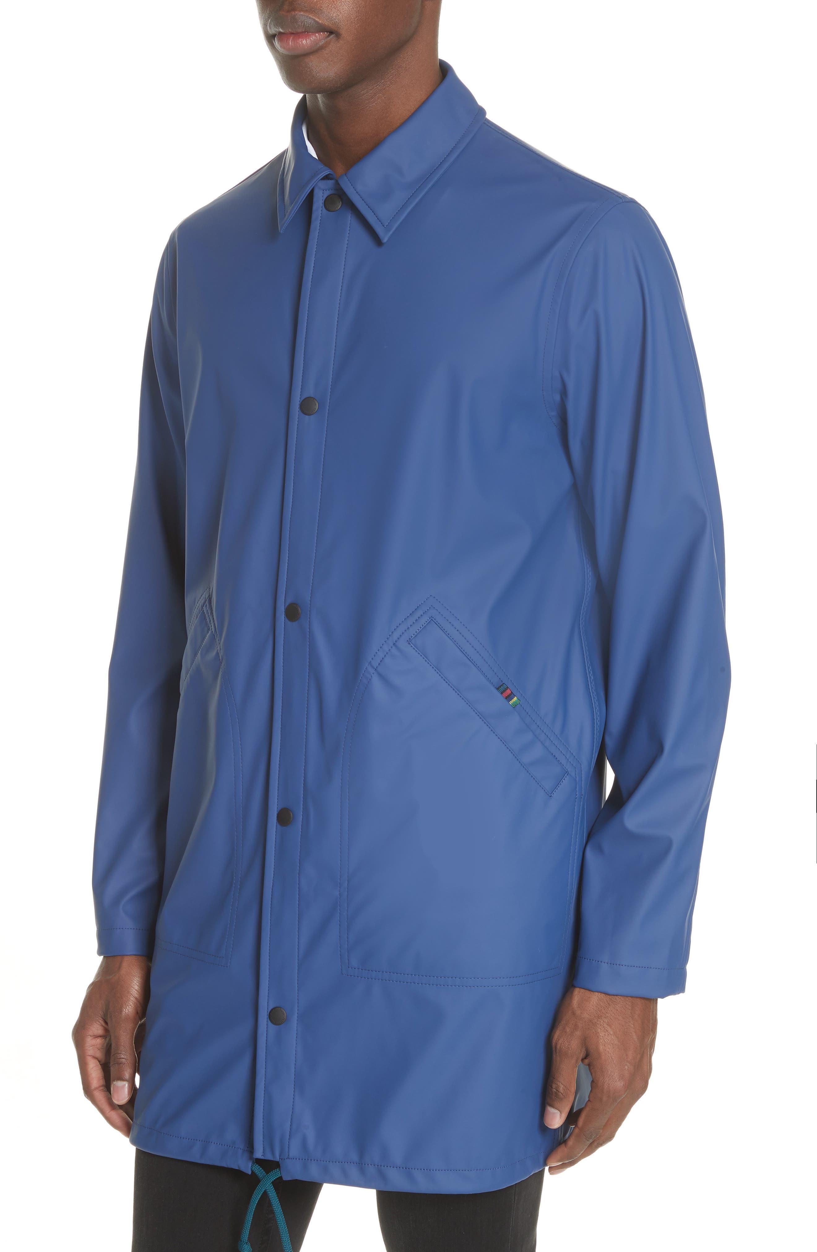 Rubberized Long Coach's Jacket,                             Alternate thumbnail 4, color,                             Navy