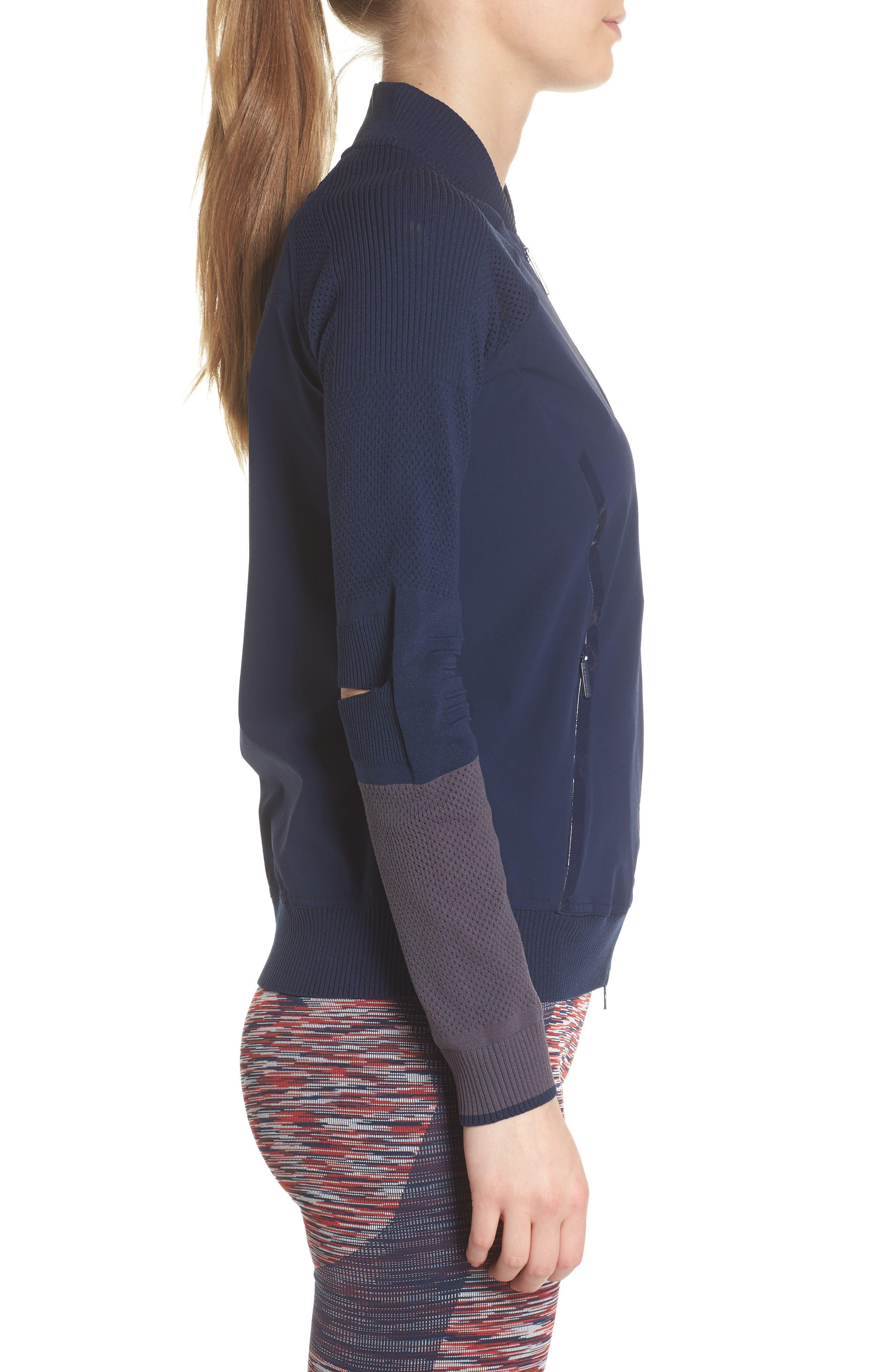 Run Ultra Knit & Woven Jacket,                             Alternate thumbnail 3, color,                             Collegiate Navy