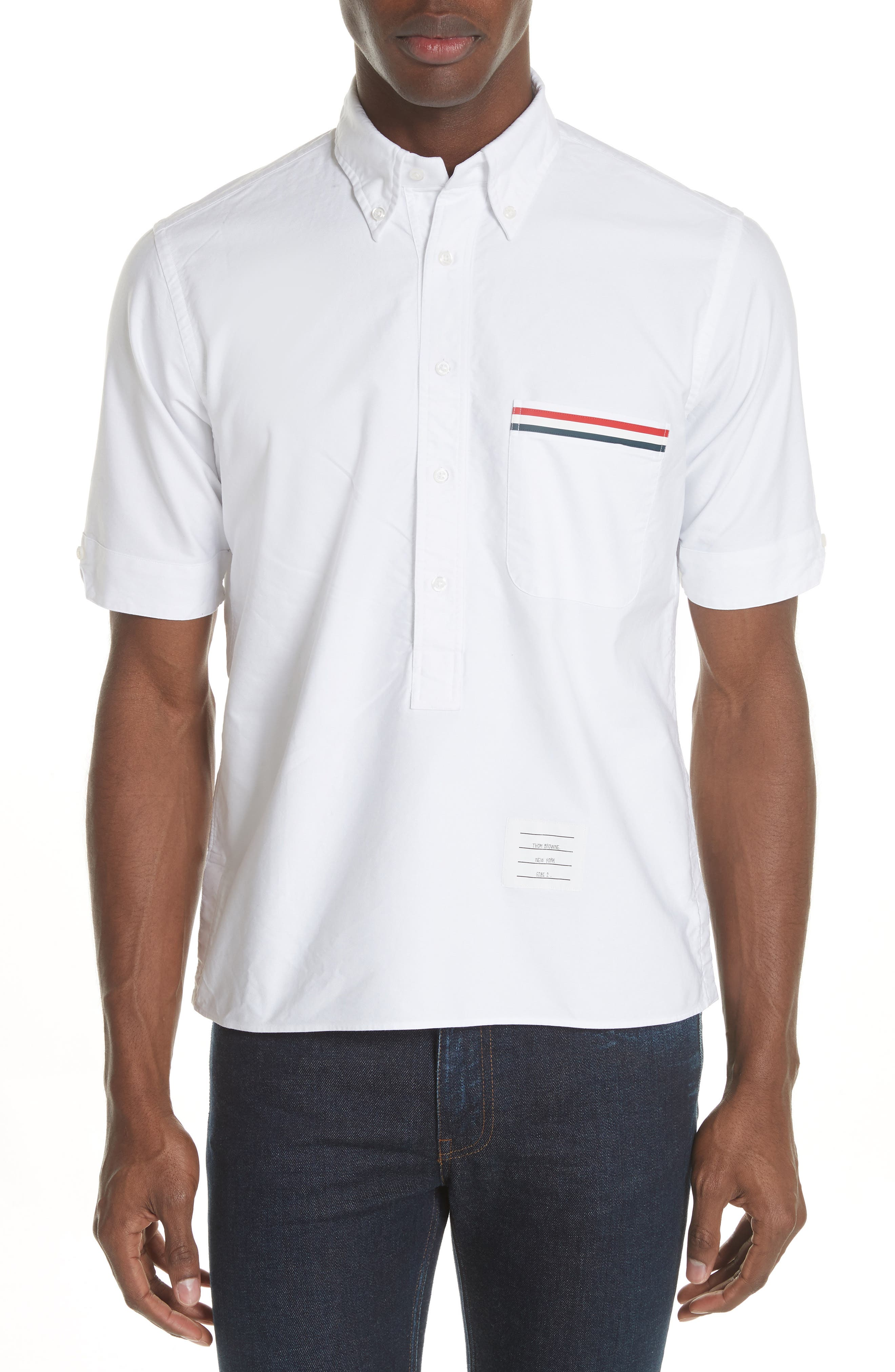 Thom Browne Short Sleeve Pullover Oxford Shirt