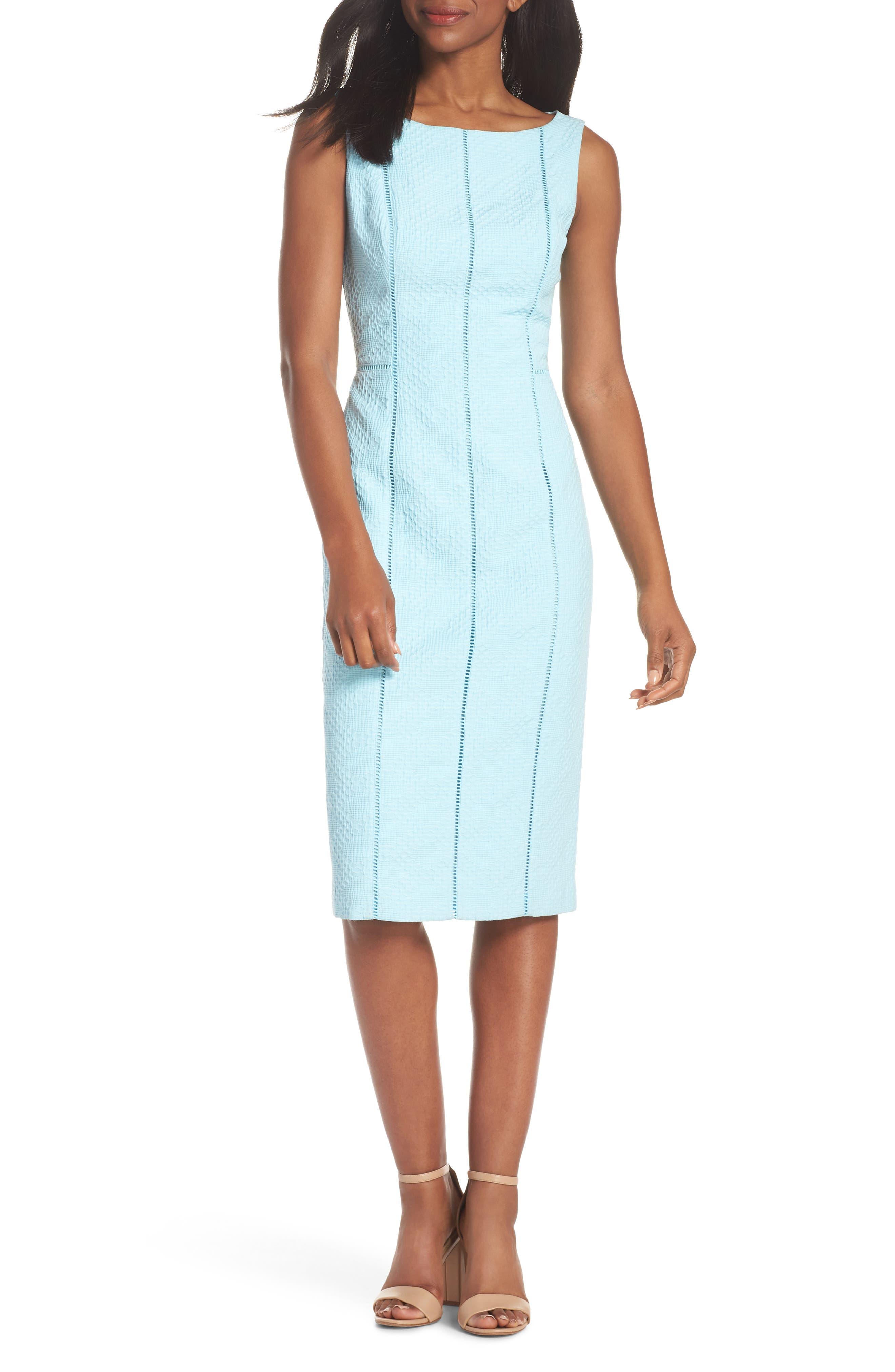 Stretch Pique Sheath Dress,                         Main,                         color, Blue