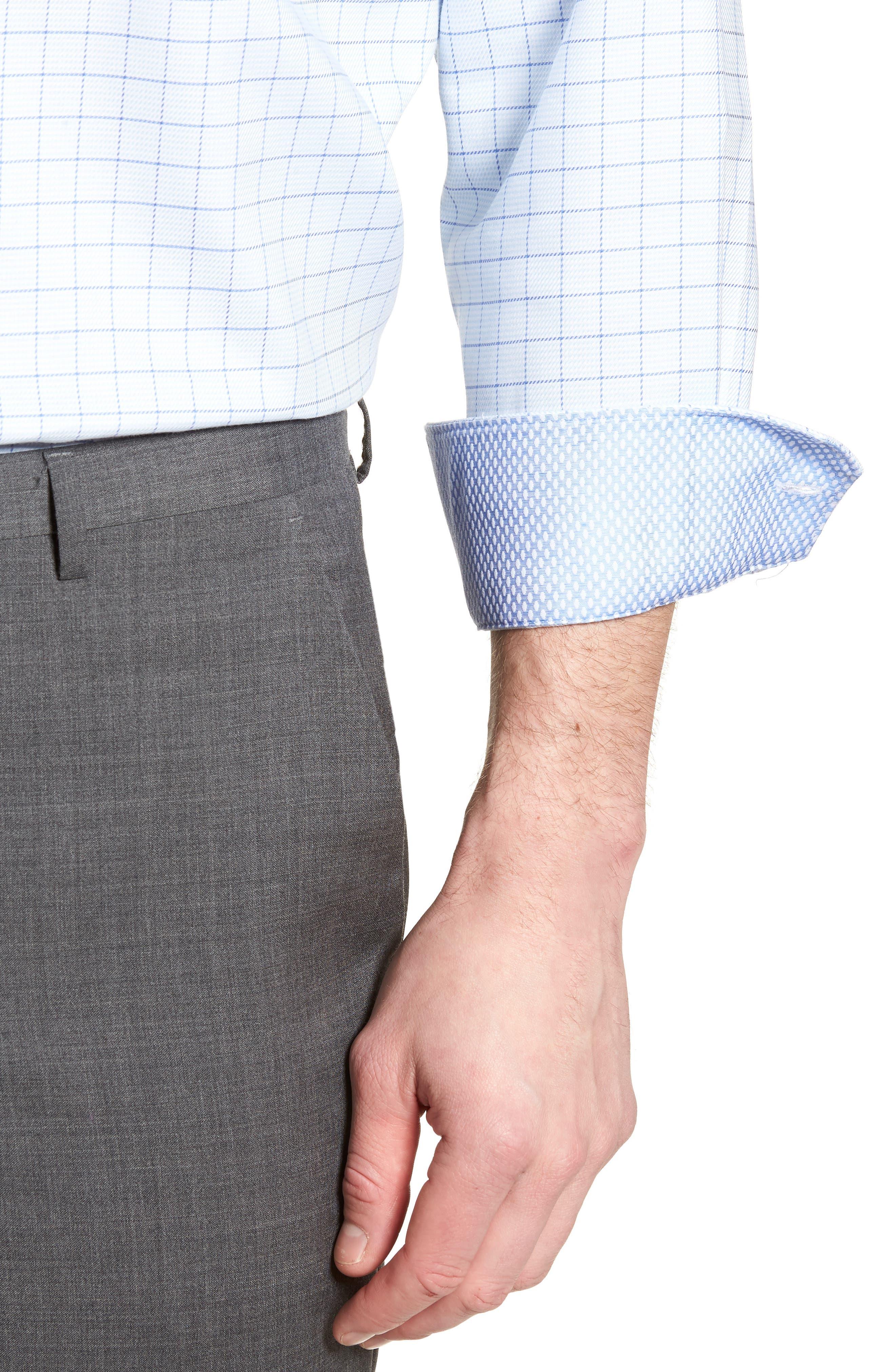 Alec Trim Fit Check Dress Shirt,                             Alternate thumbnail 2, color,                             Light Blue