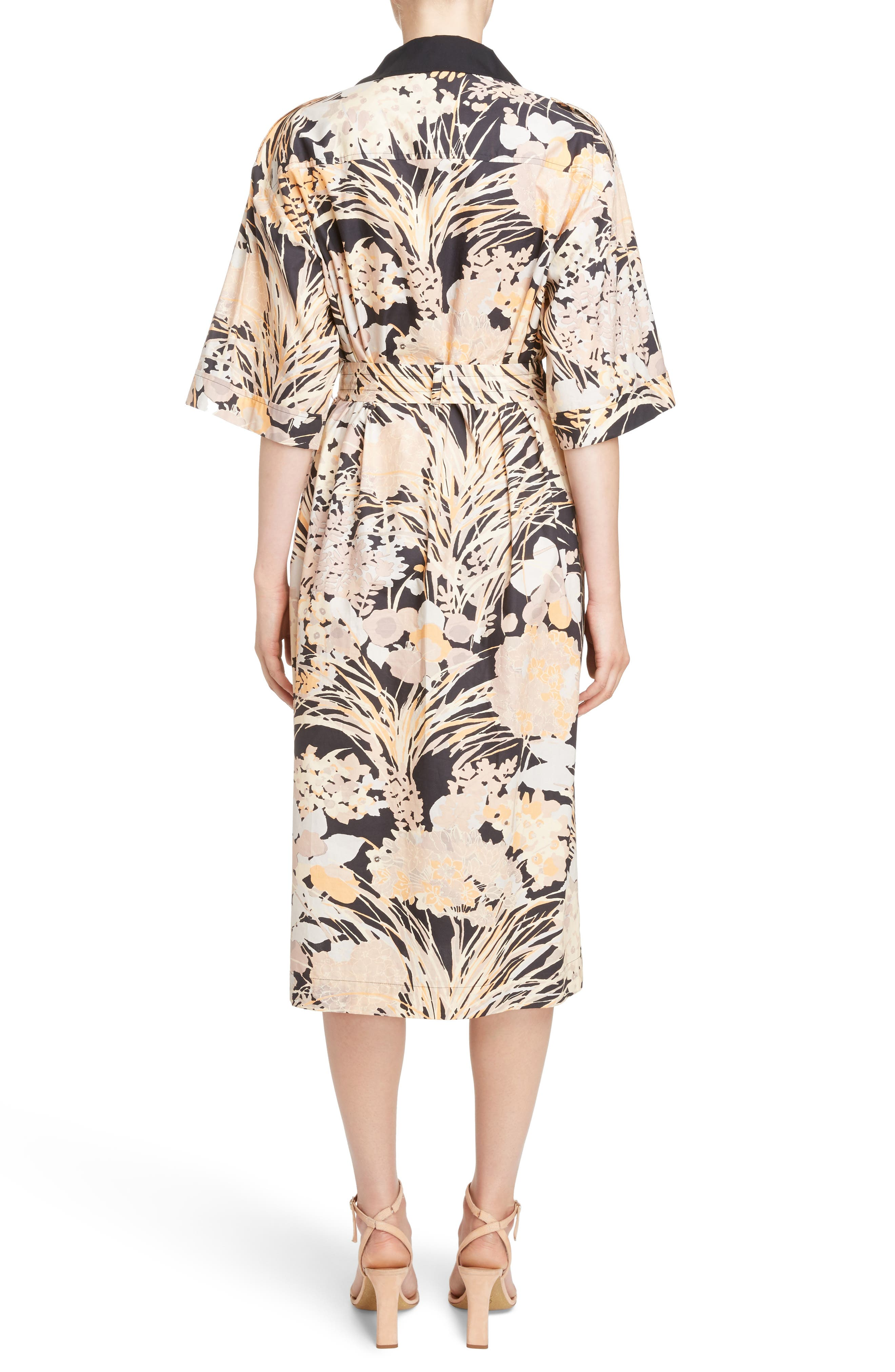 Floral Cotton Shirtdress,                             Alternate thumbnail 2, color,                             Skin