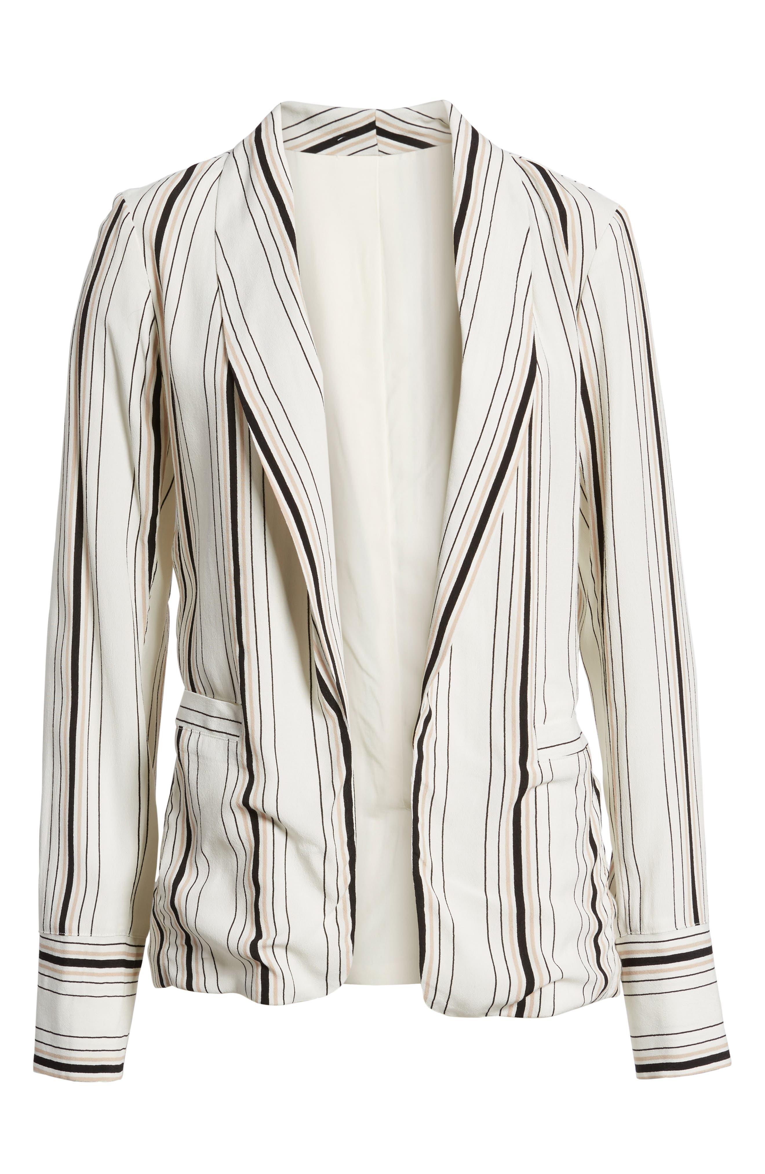 Stripe Blazer,                             Alternate thumbnail 7, color,                             Ivory Stripe