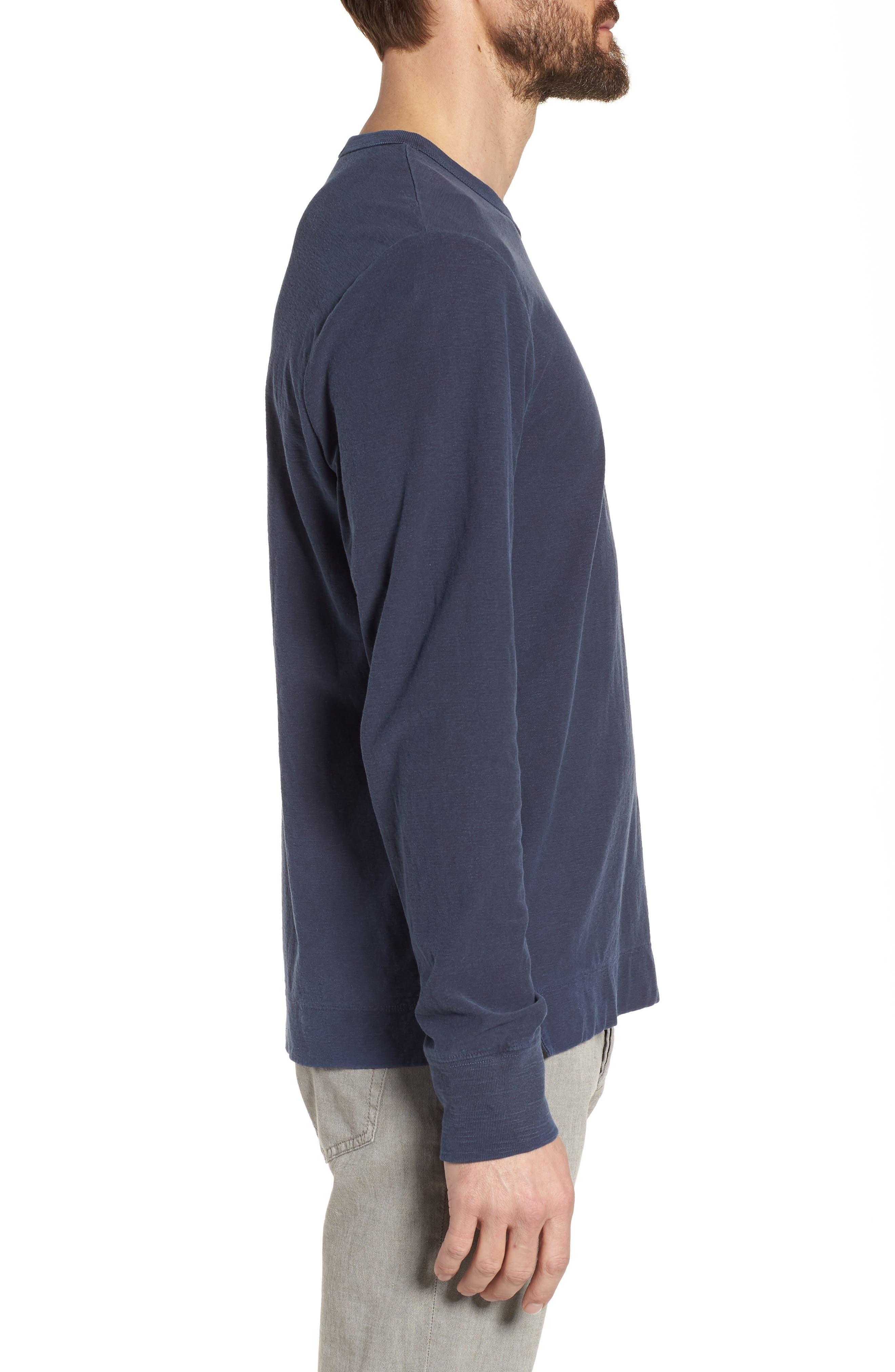 Regular Fit Slub Crewneck T-Shirt,                             Alternate thumbnail 3, color,                             Blue