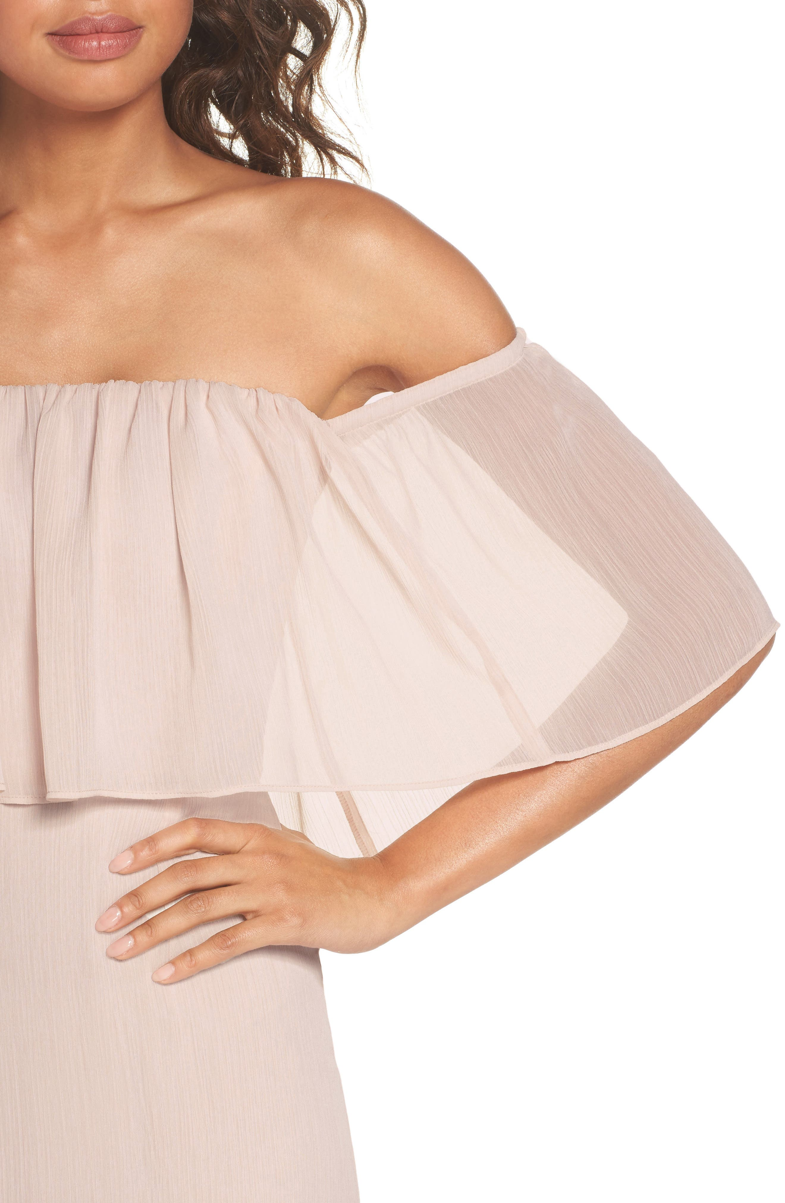Penelope Off the Shoulder Popover Gown,                             Alternate thumbnail 4, color,                             Champagne