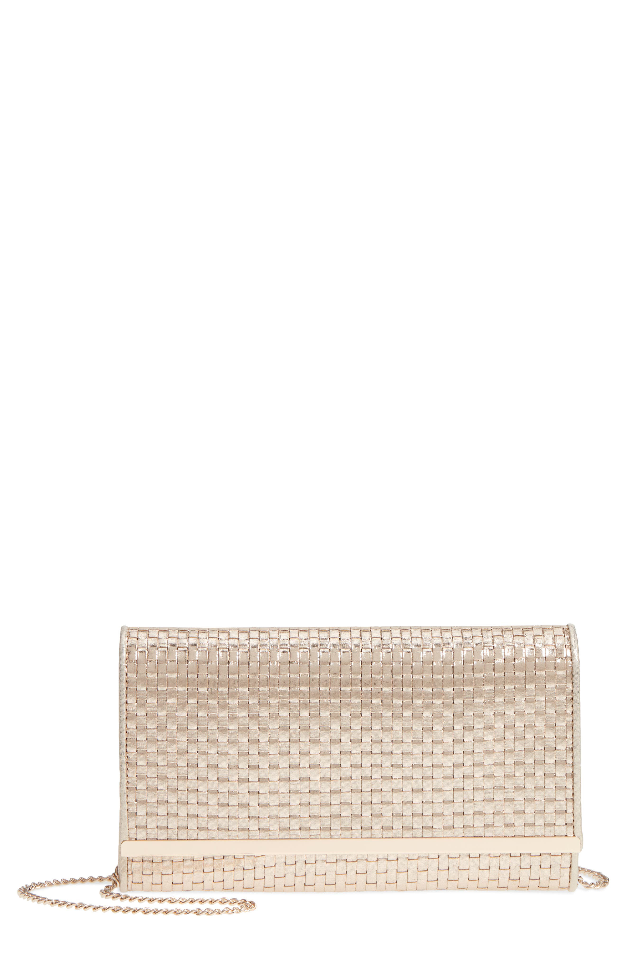 Main Image - Nordstrom Woven Faux Leather Metallic Clutch