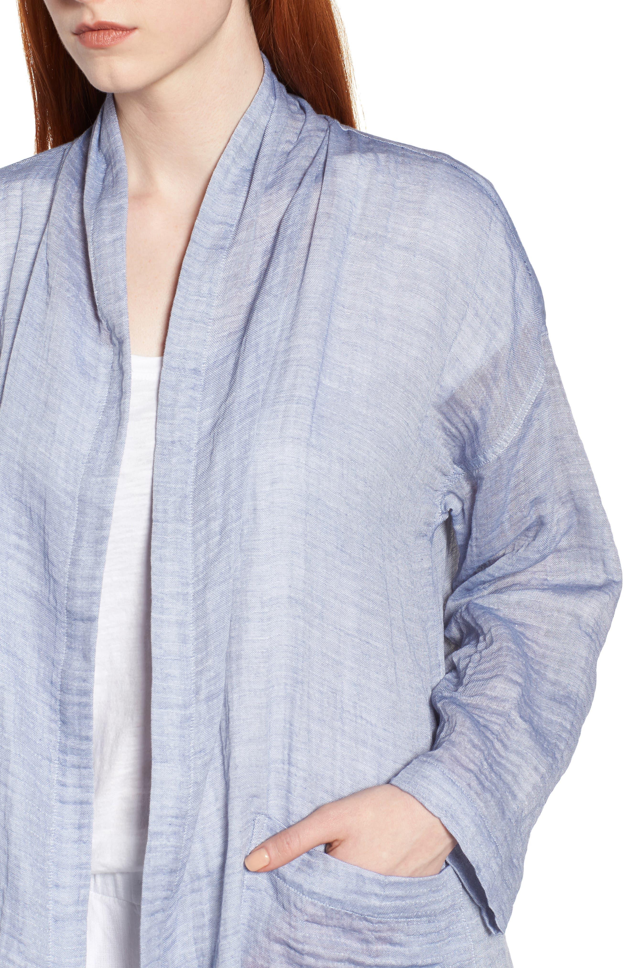 Linen Blend Kimono Jacket,                             Alternate thumbnail 4, color,                             Chambray