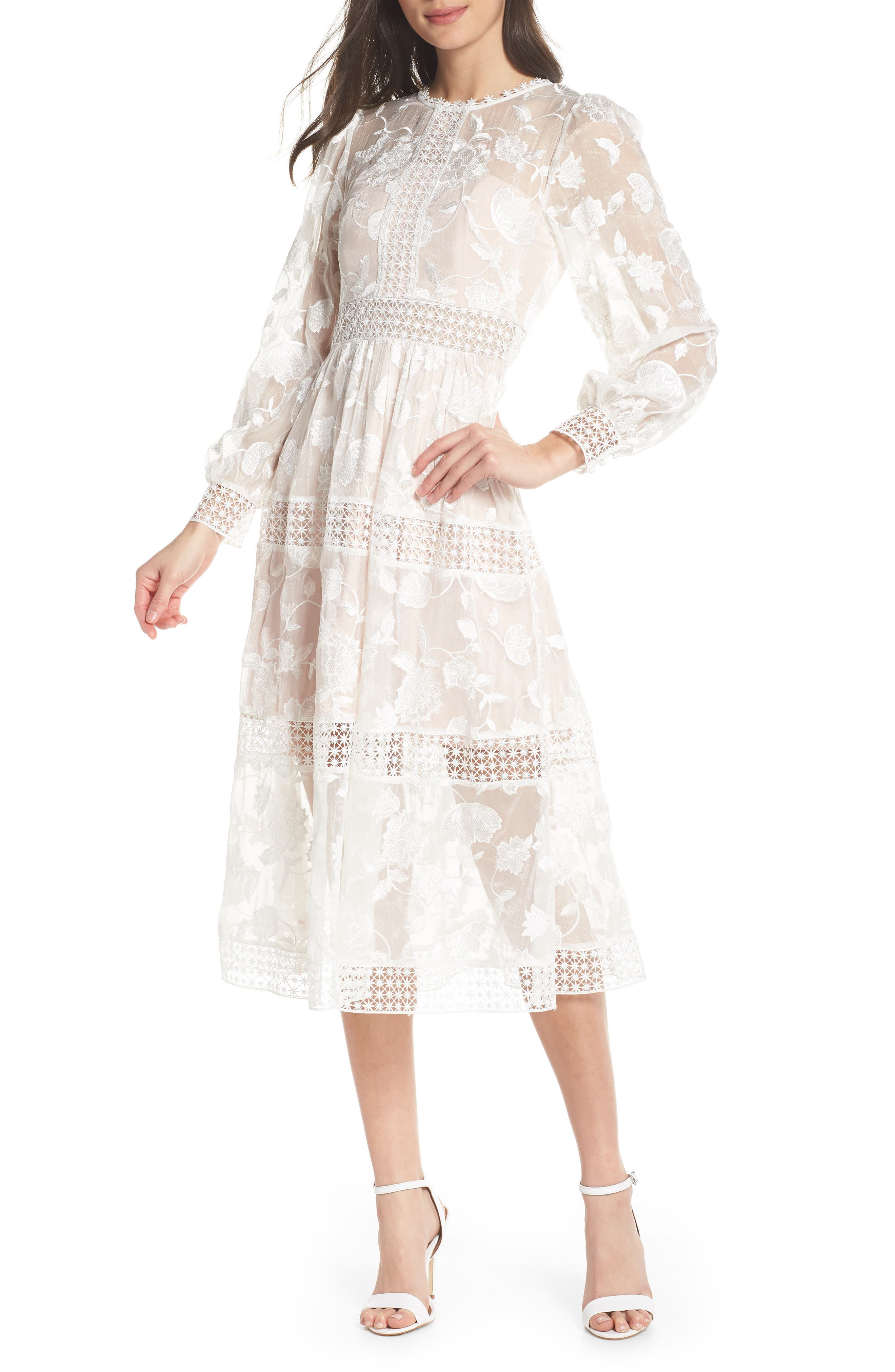 Ever New Floral Organza Tiered Midi Dress