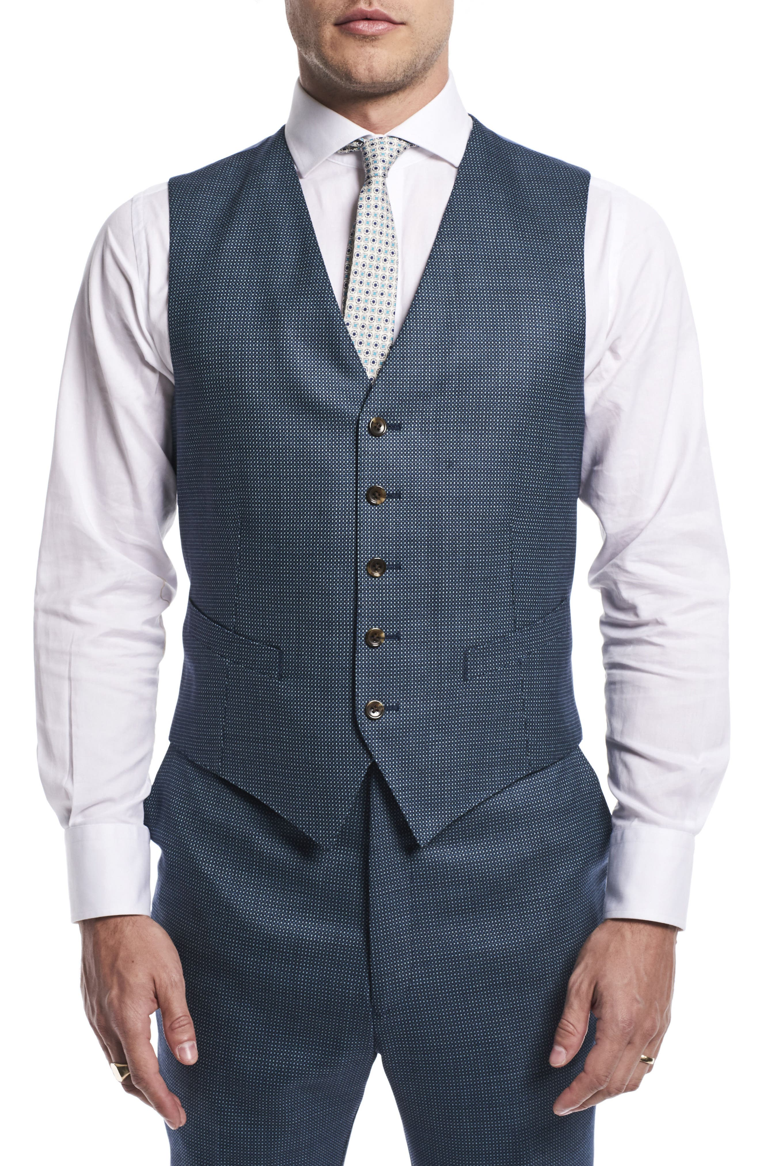 by Ilaria Urbinati Finch Trim Fit Three-Piece Solid Wool Suit,                             Alternate thumbnail 5, color,                             Pacific Blue Dot