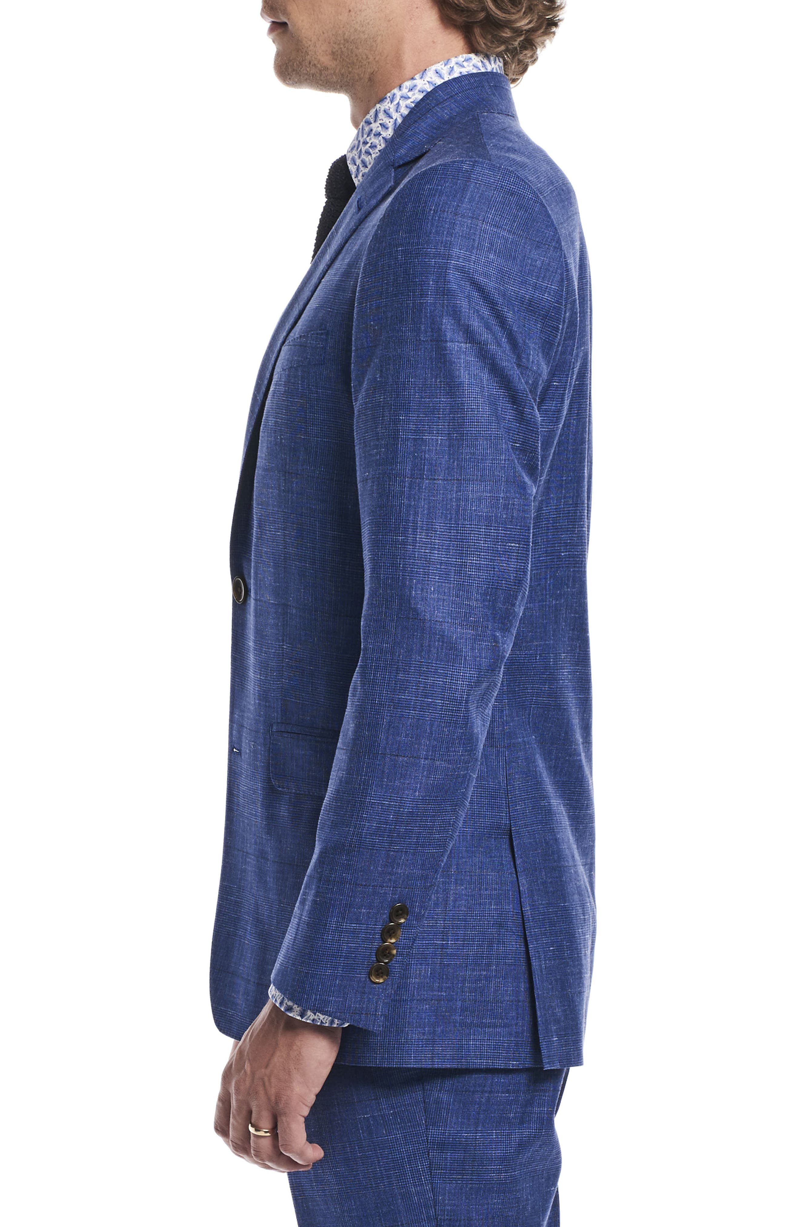 by Ilaria Urbinati Kilgore Slim Fit Plaid Wool Blend Suit,                             Alternate thumbnail 5, color,                             Blue