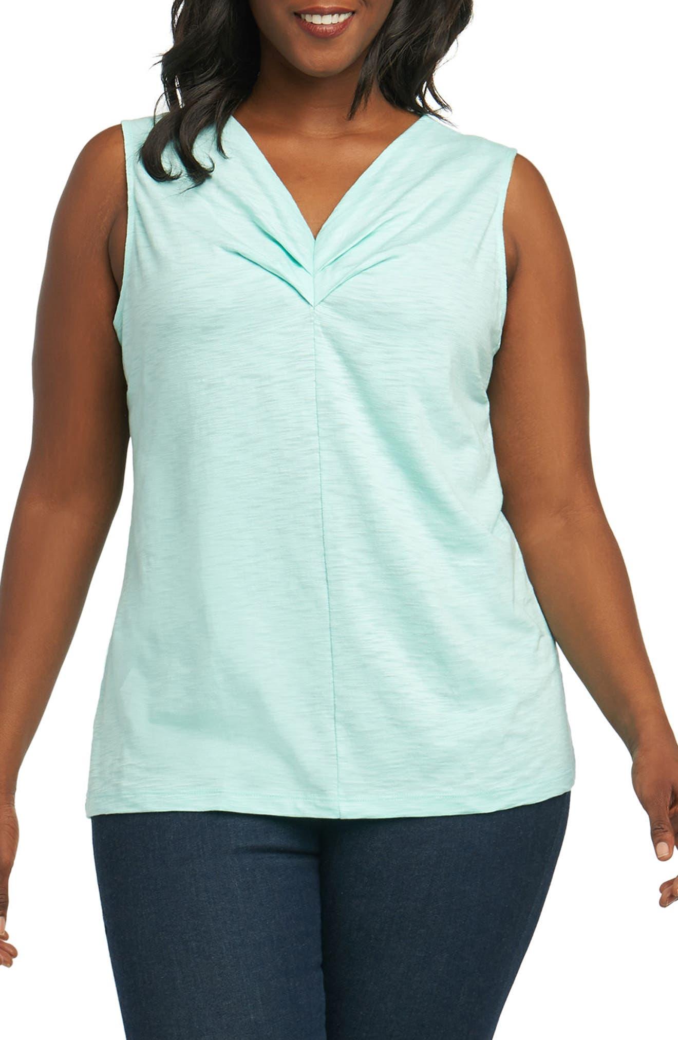 Foxcroft Melia Cotton Blend Tank Top (Plus Size)