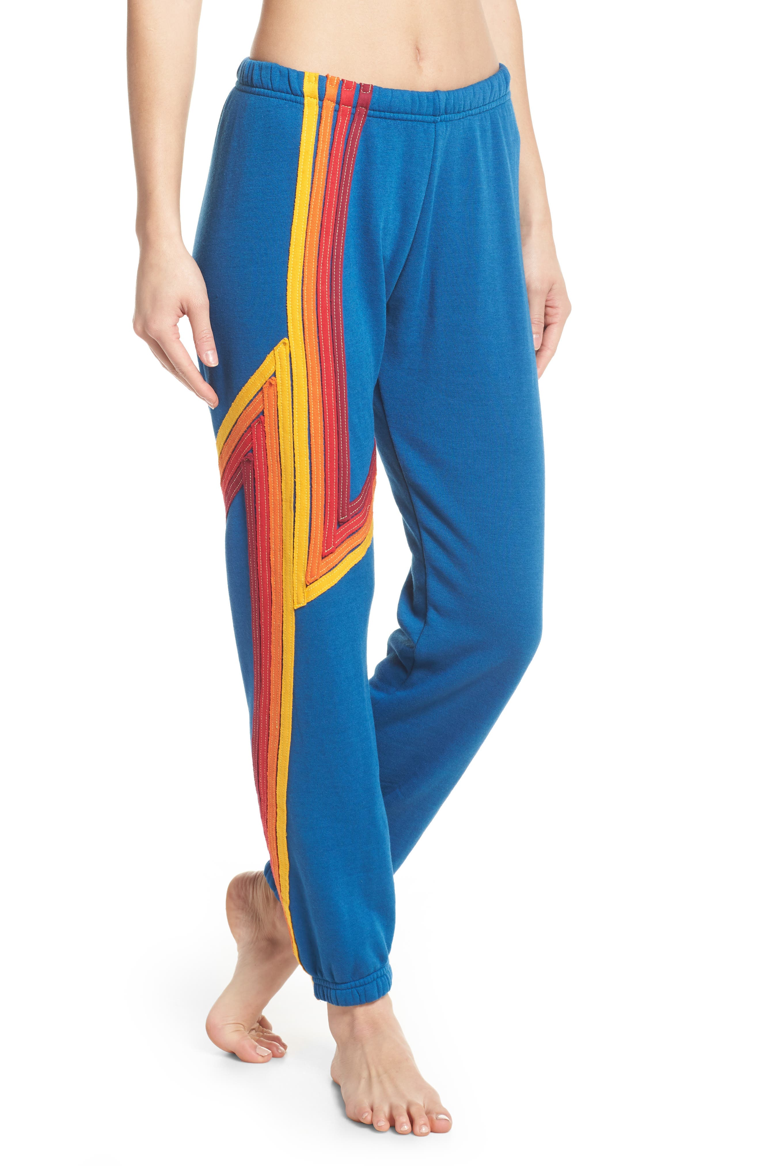 Blaze 4 Sweatpants,                             Main thumbnail 1, color,                             Caribbean/ Red Stripe