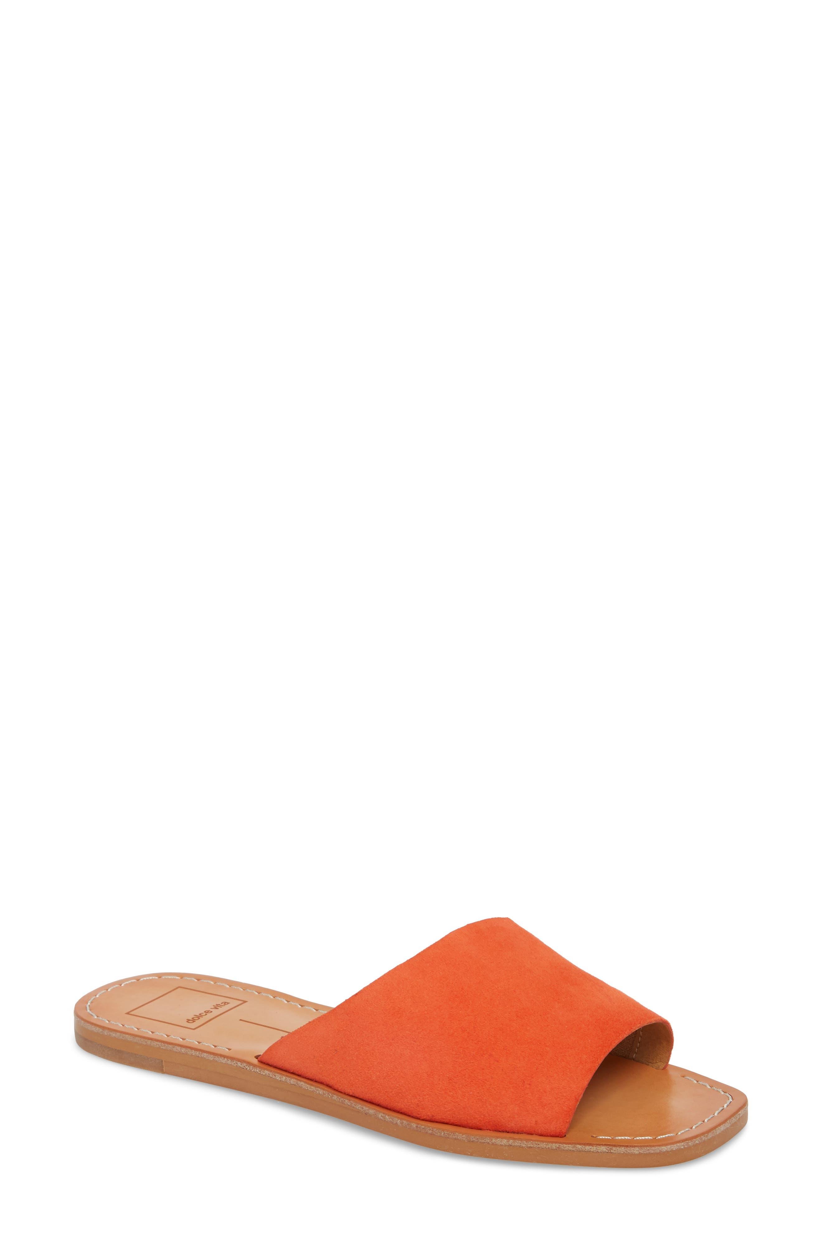 Cato Asymmetrical Slide Sandal,                             Main thumbnail 1, color,                             Orange Suede