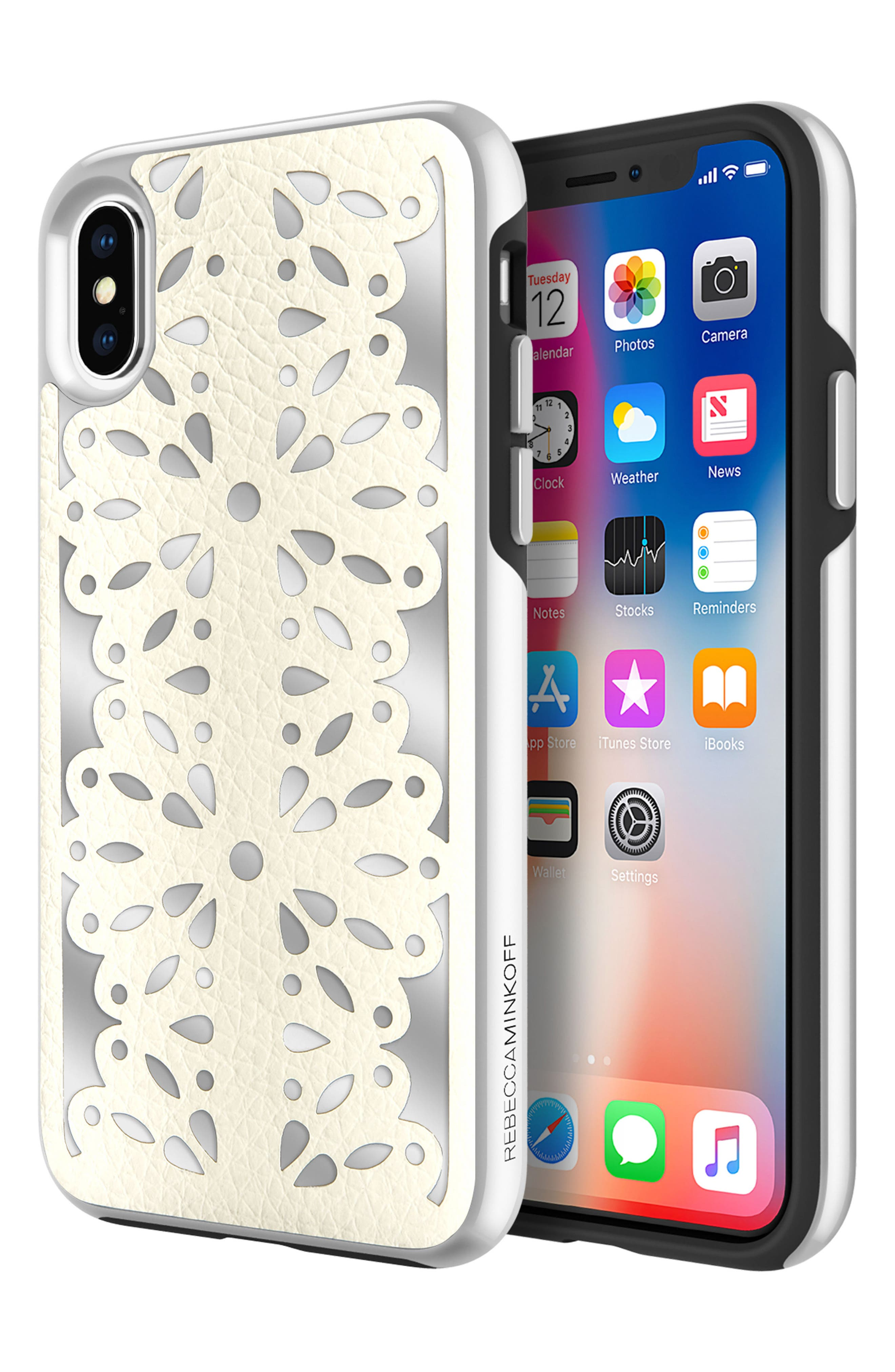 Luxury Calls Laser Lace iPhone X Case,                             Alternate thumbnail 2, color,                             Bianco/ Silver