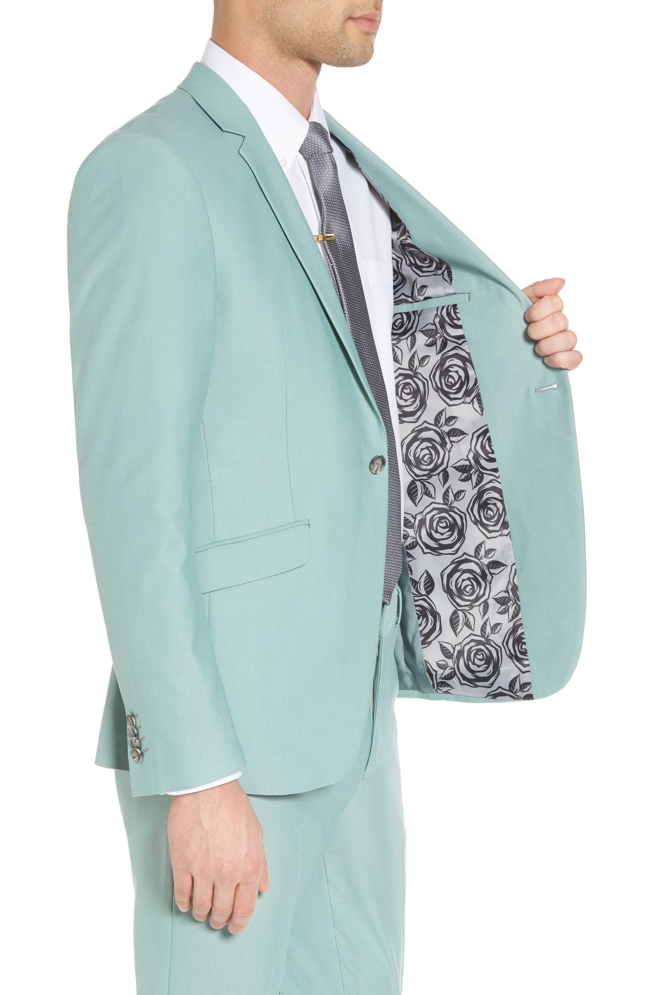 Skinny Fit Suit Jacket,                             Alternate thumbnail 4, color,                             Green