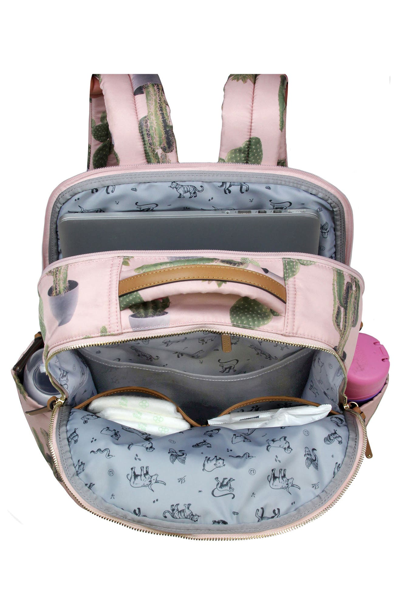 On-the-Go Water Resistant Diaper Backpack,                             Alternate thumbnail 4, color,                             Cactus