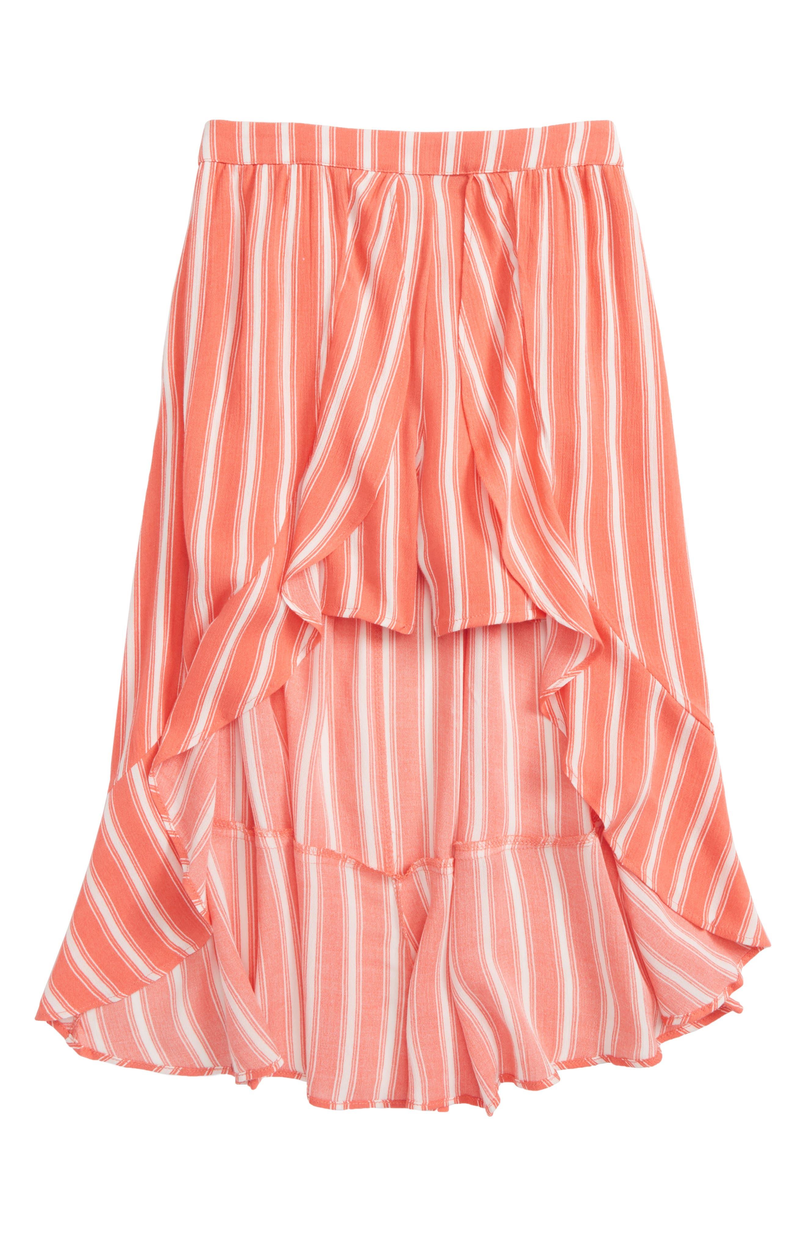 Stripe Walk Through Skirt,                         Main,                         color, Coral/ Ivory