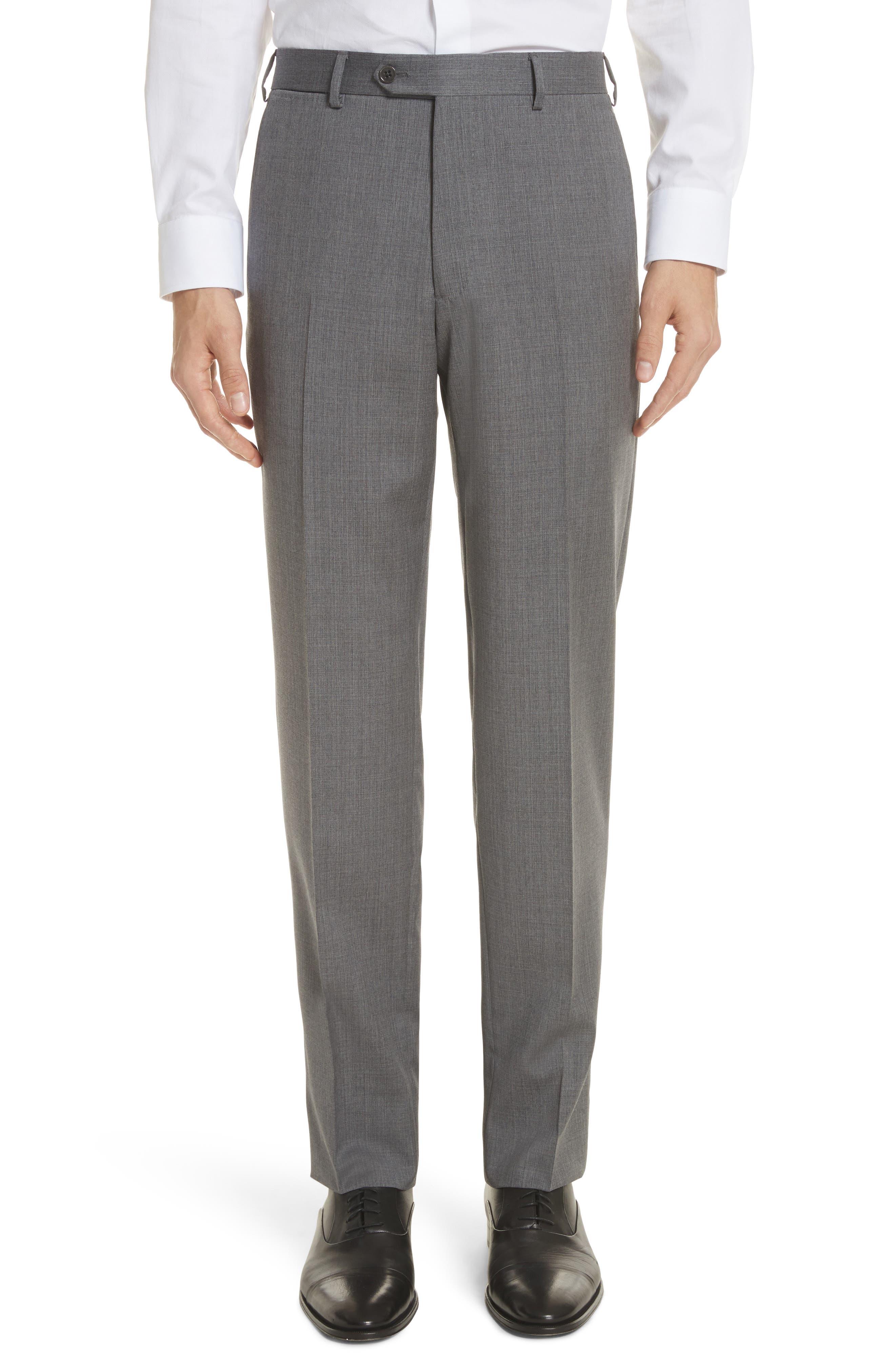 Trim Fit Sharkskin Wool Suit,                             Alternate thumbnail 6, color,                             Grey