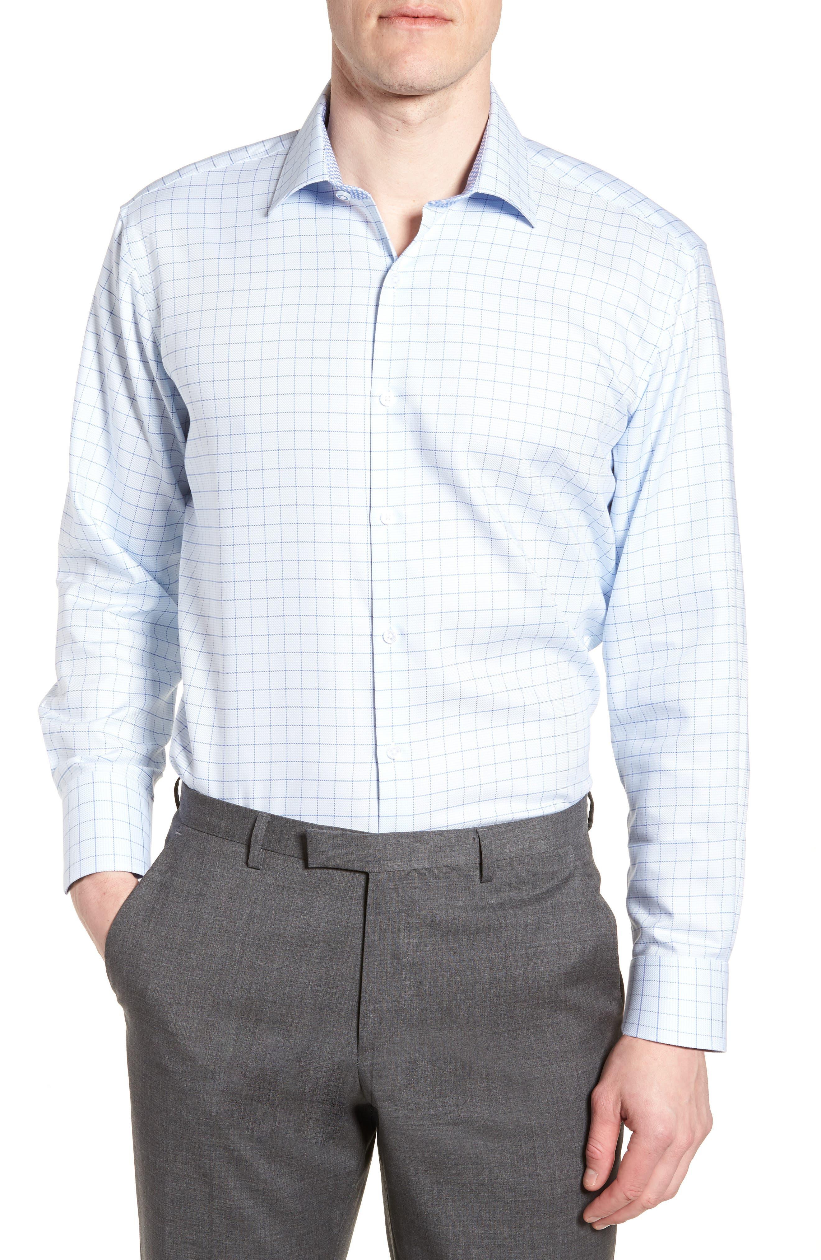 Alec Trim Fit Check Dress Shirt,                         Main,                         color, Light Blue