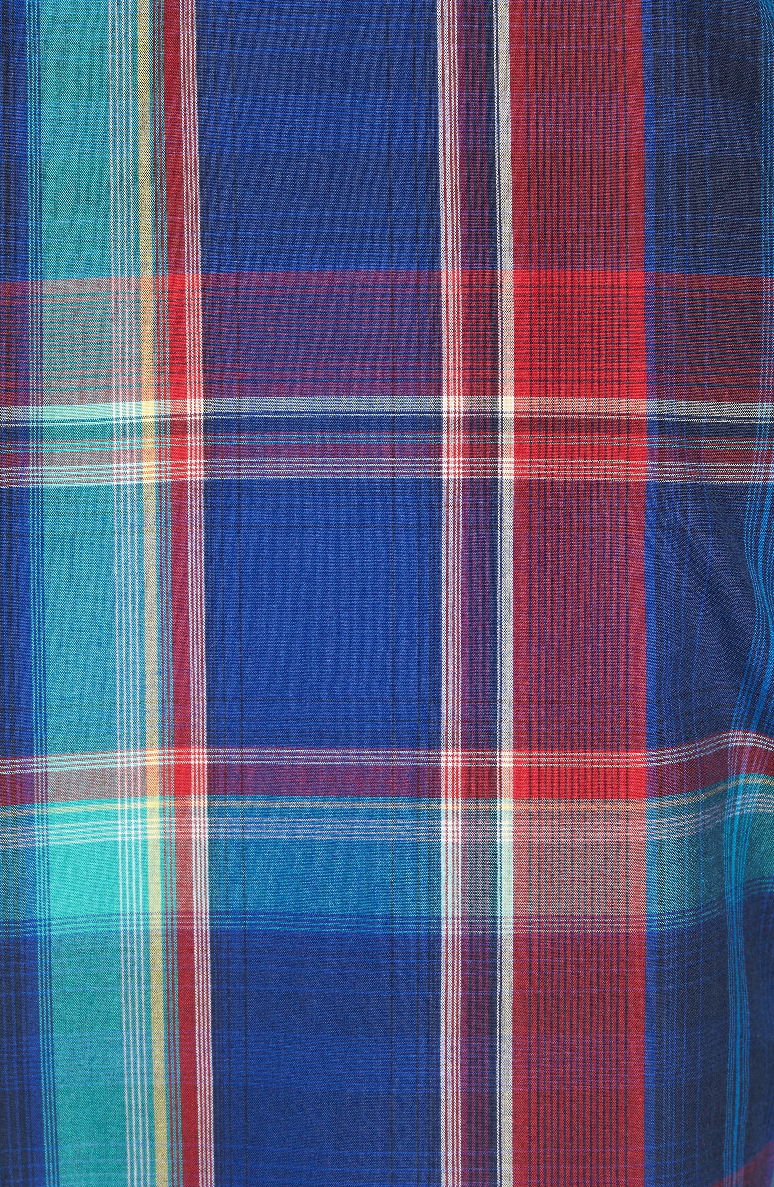 Ivy Trim Fit Madras Plaid Sport Shirt,                             Alternate thumbnail 5, color,                             Navy Red Fine Line Plaid