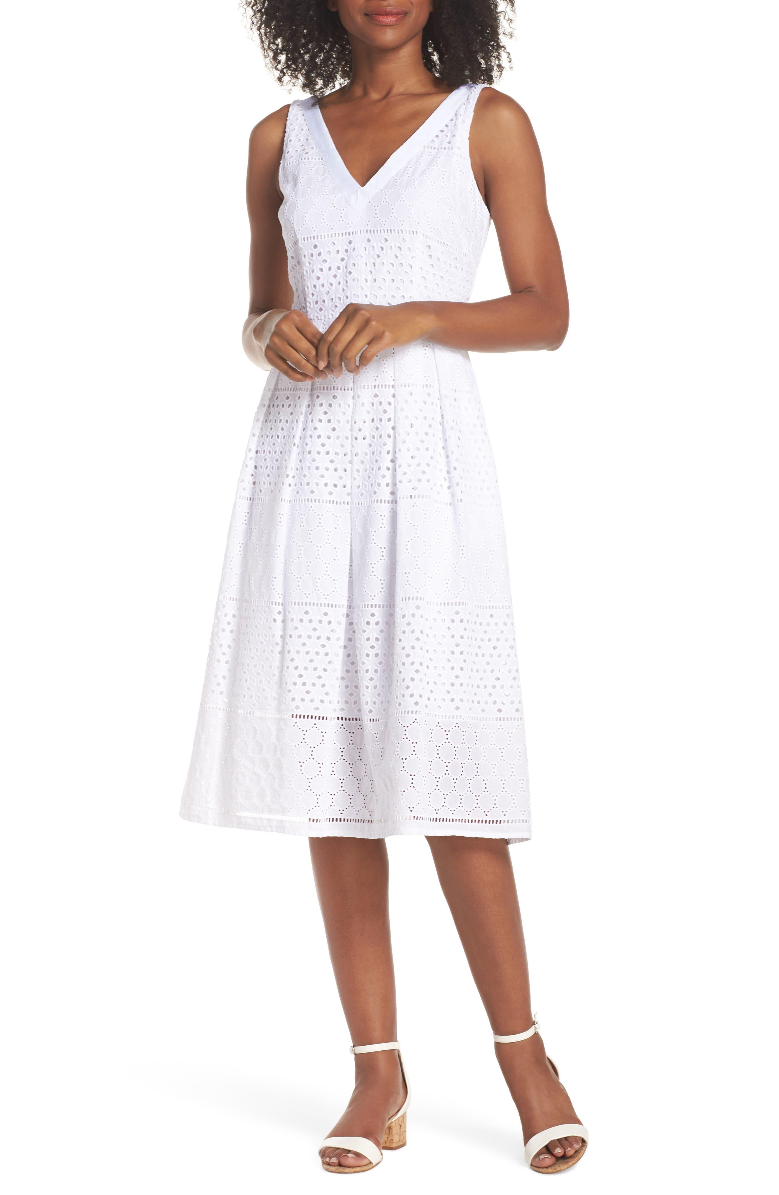 V-Neck Cotton Eyelet Fit & Flare Dress,                         Main,                         color, White