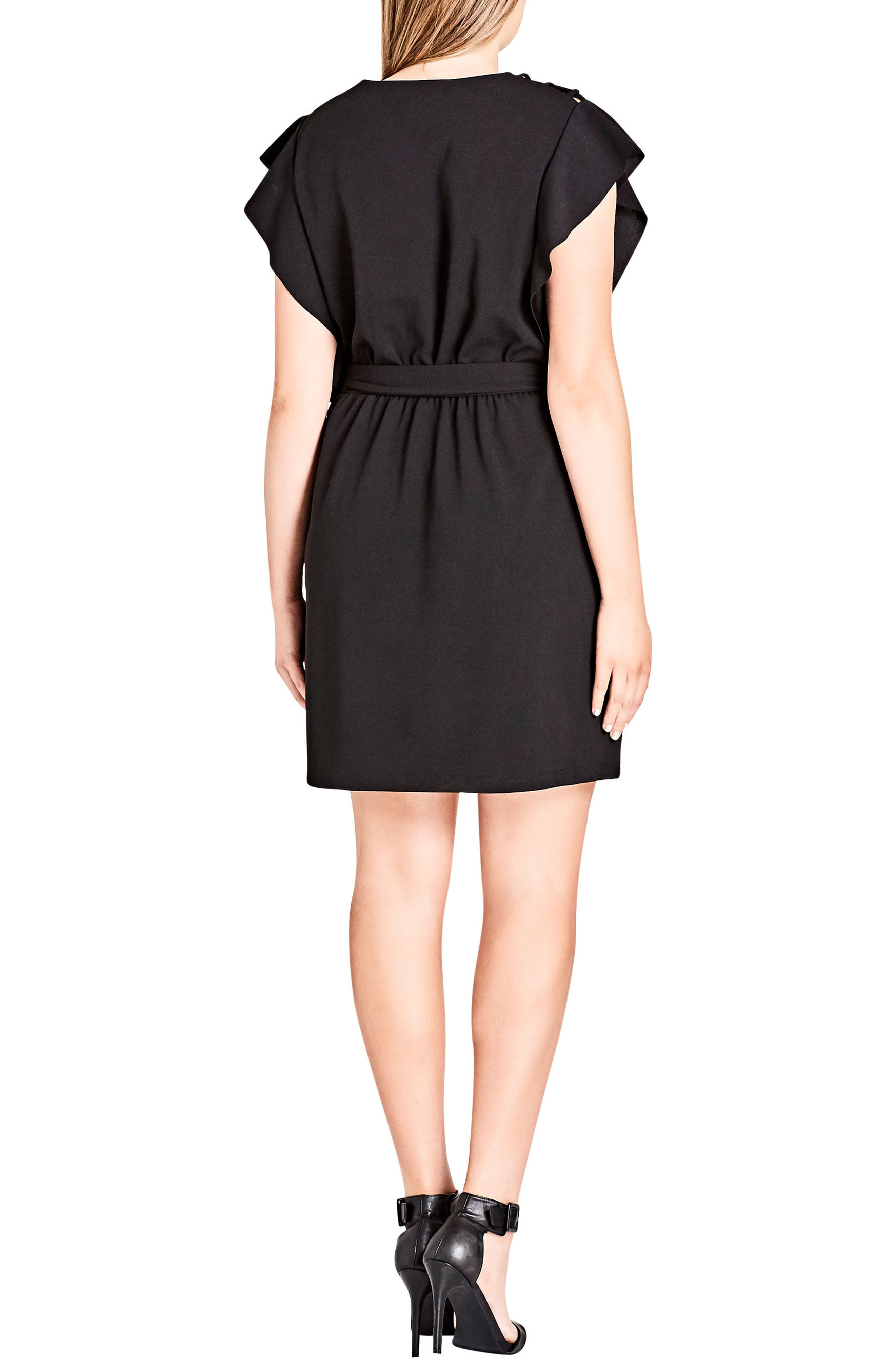 Alternate Image 2  - City Chic Ring Me Ruffle Tunic Dress (Plus Size)