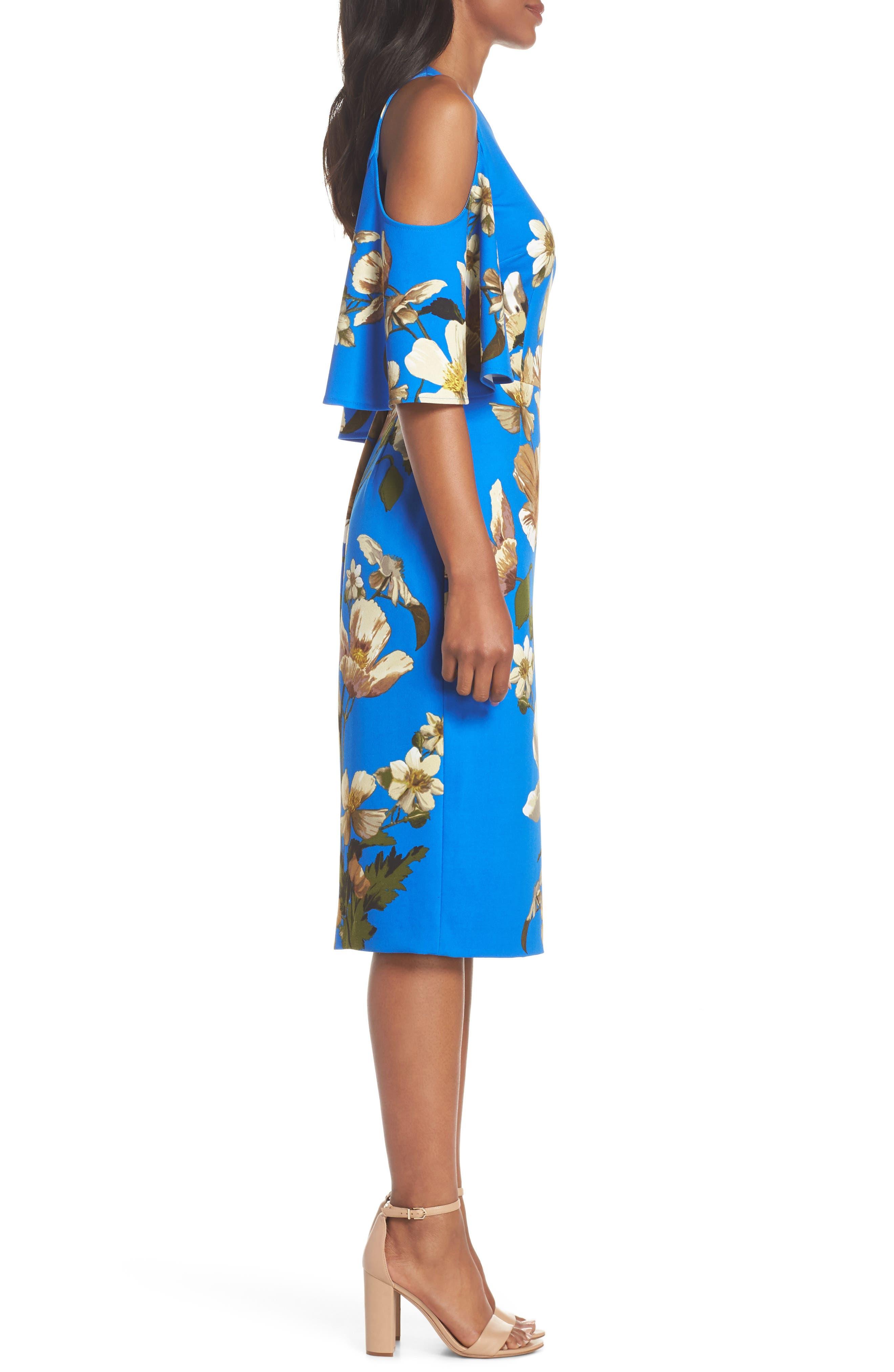 Floral Cold Shoulder Sheath Dress,                             Alternate thumbnail 3, color,                             Blue/ Neutral