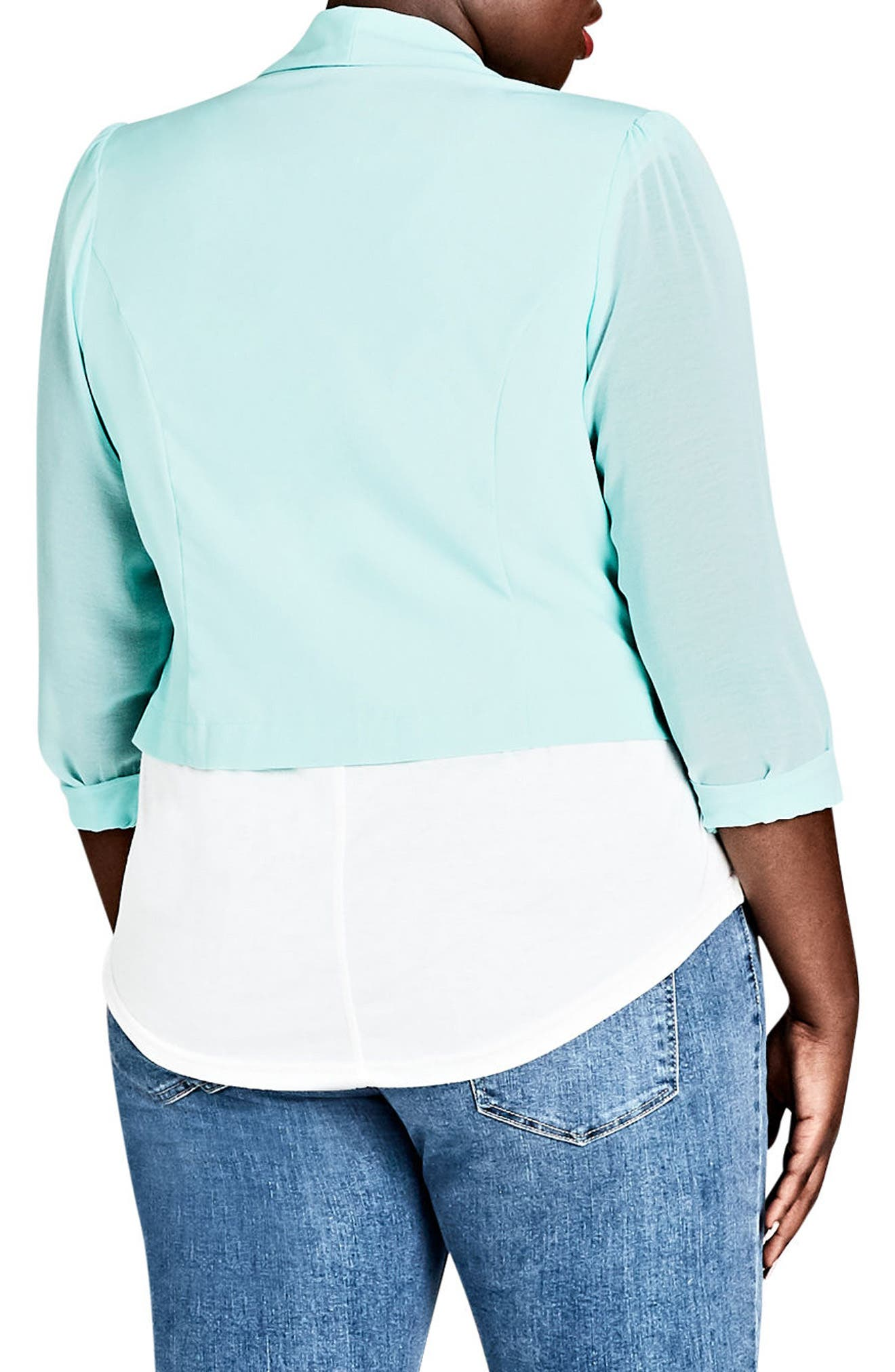 Sheer Sleeve Crop Blazer,                             Alternate thumbnail 2, color,                             Mint