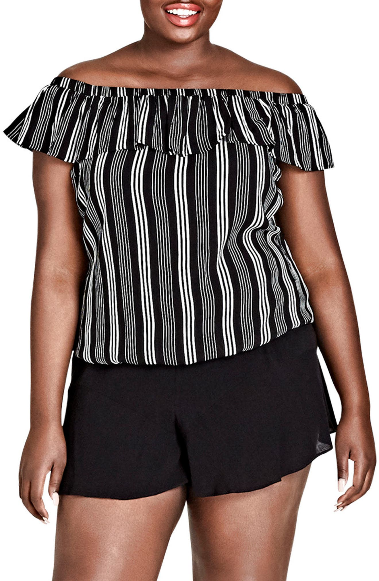 Stripe Play Off the Shoulder Top,                             Main thumbnail 1, color,                             Stripe Play