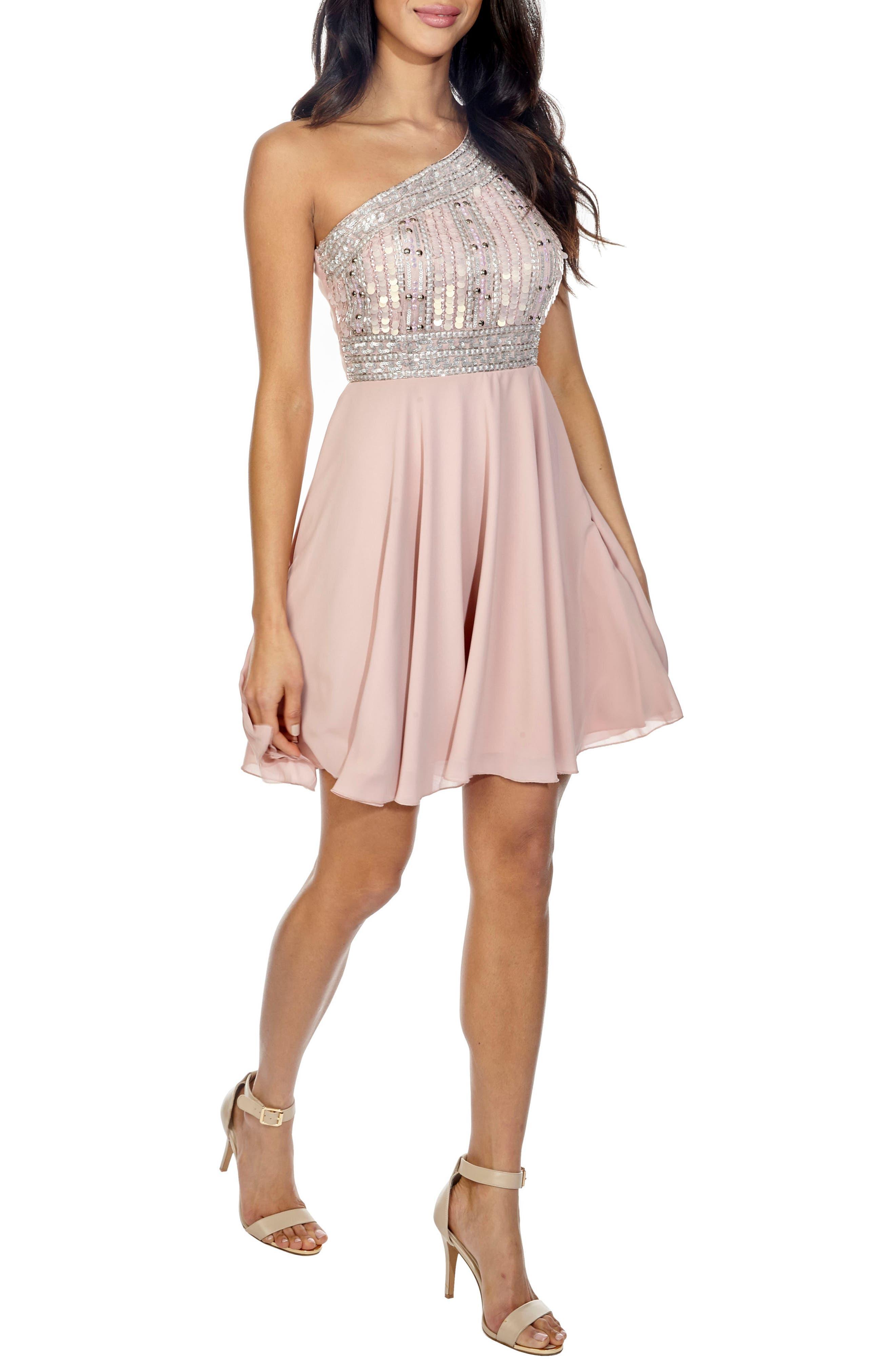 Althea Embellished One-Shoulder Dress,                         Main,                         color, Pink