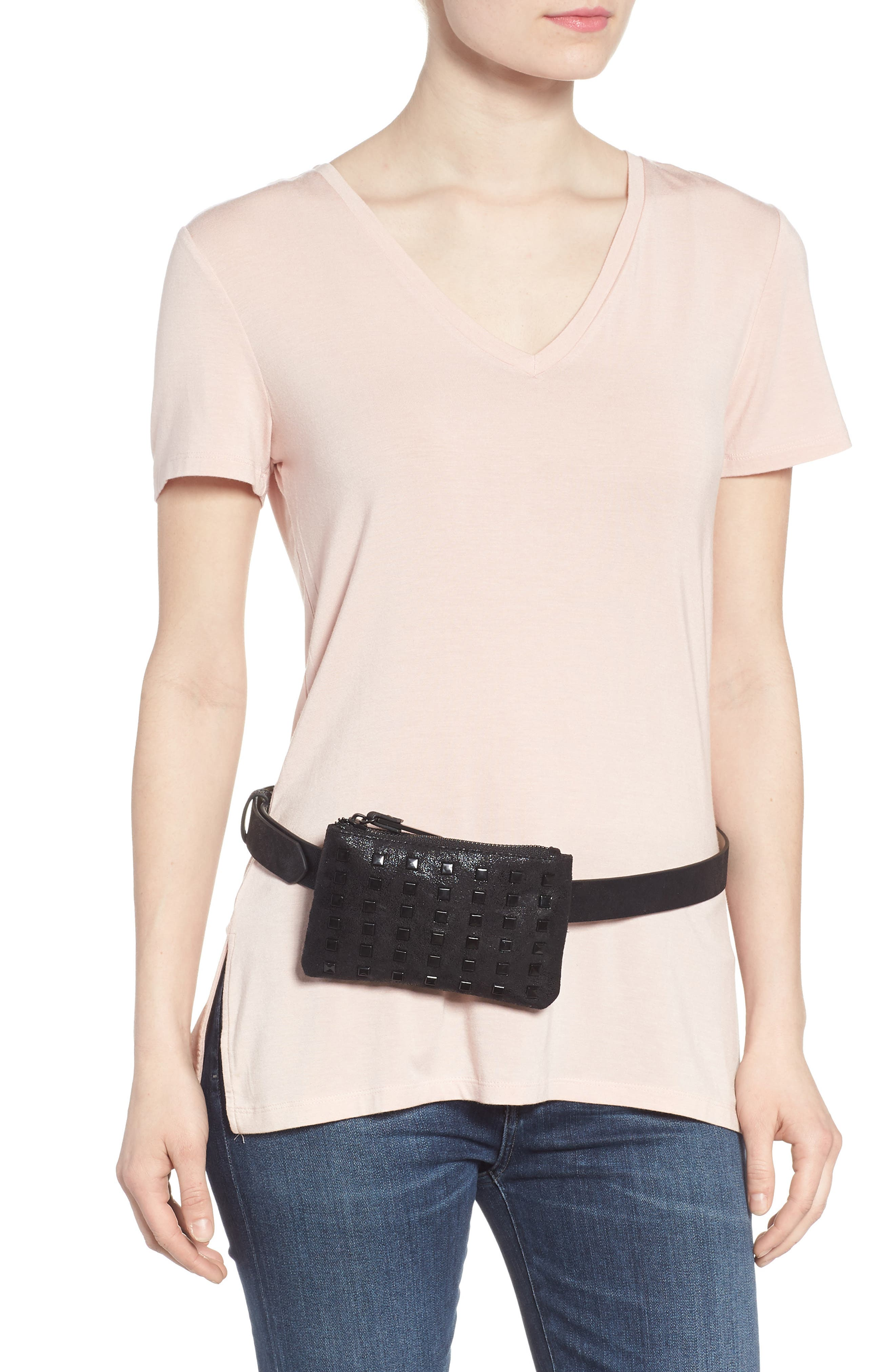 Studded Faux Leather Belt Bag,                             Alternate thumbnail 3, color,                             Black