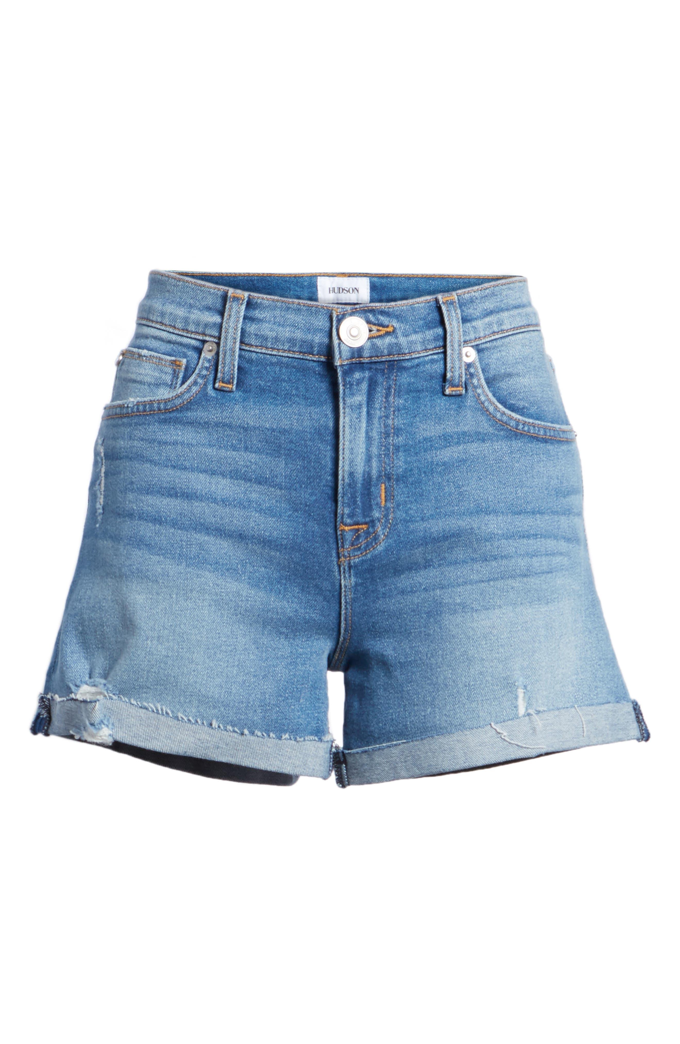 Valeri Cuff Denim Shorts,                             Alternate thumbnail 6, color,                             Proxy
