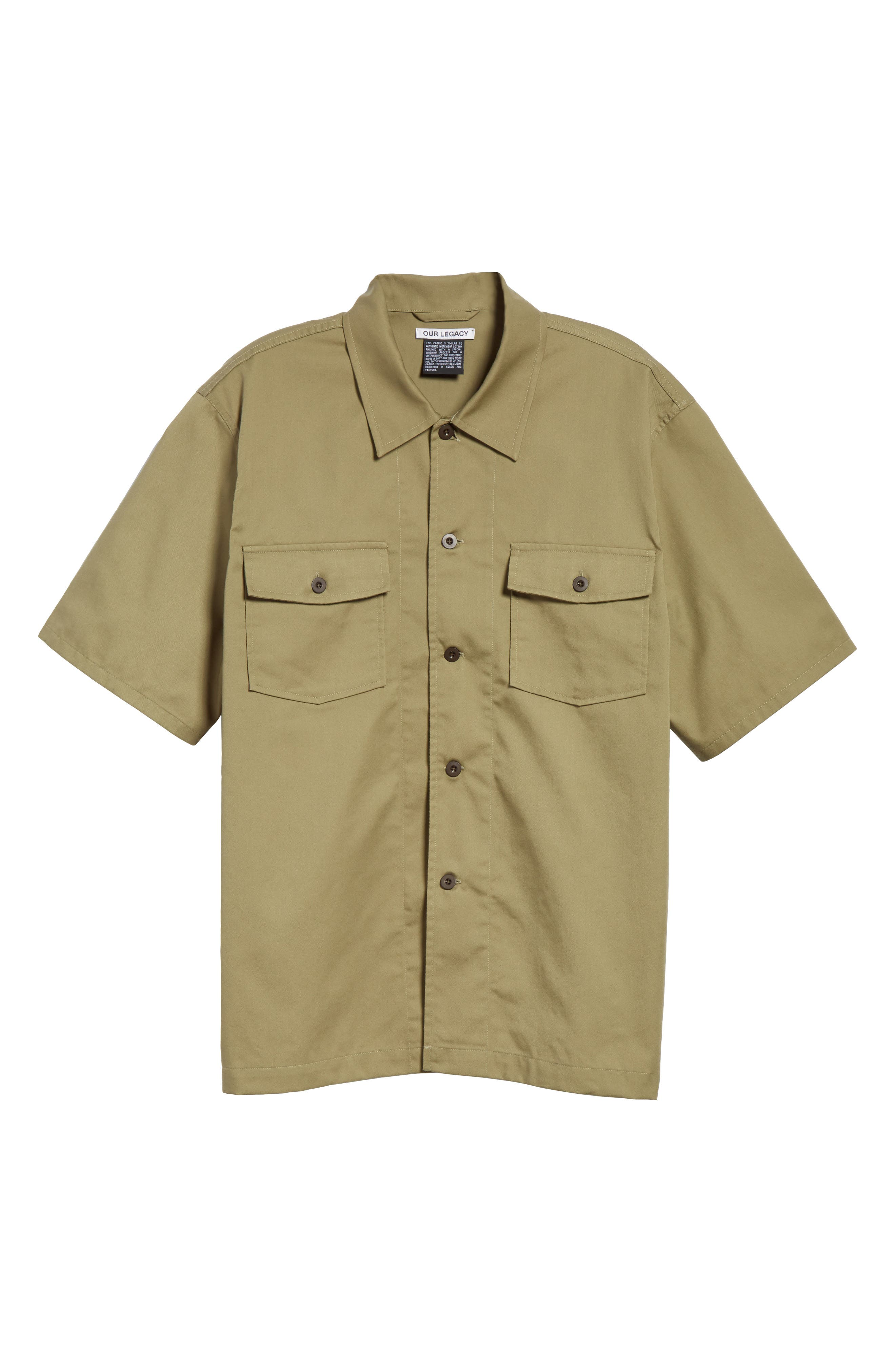 Double Pocket Woven Shirt,                             Alternate thumbnail 6, color,                             Olive