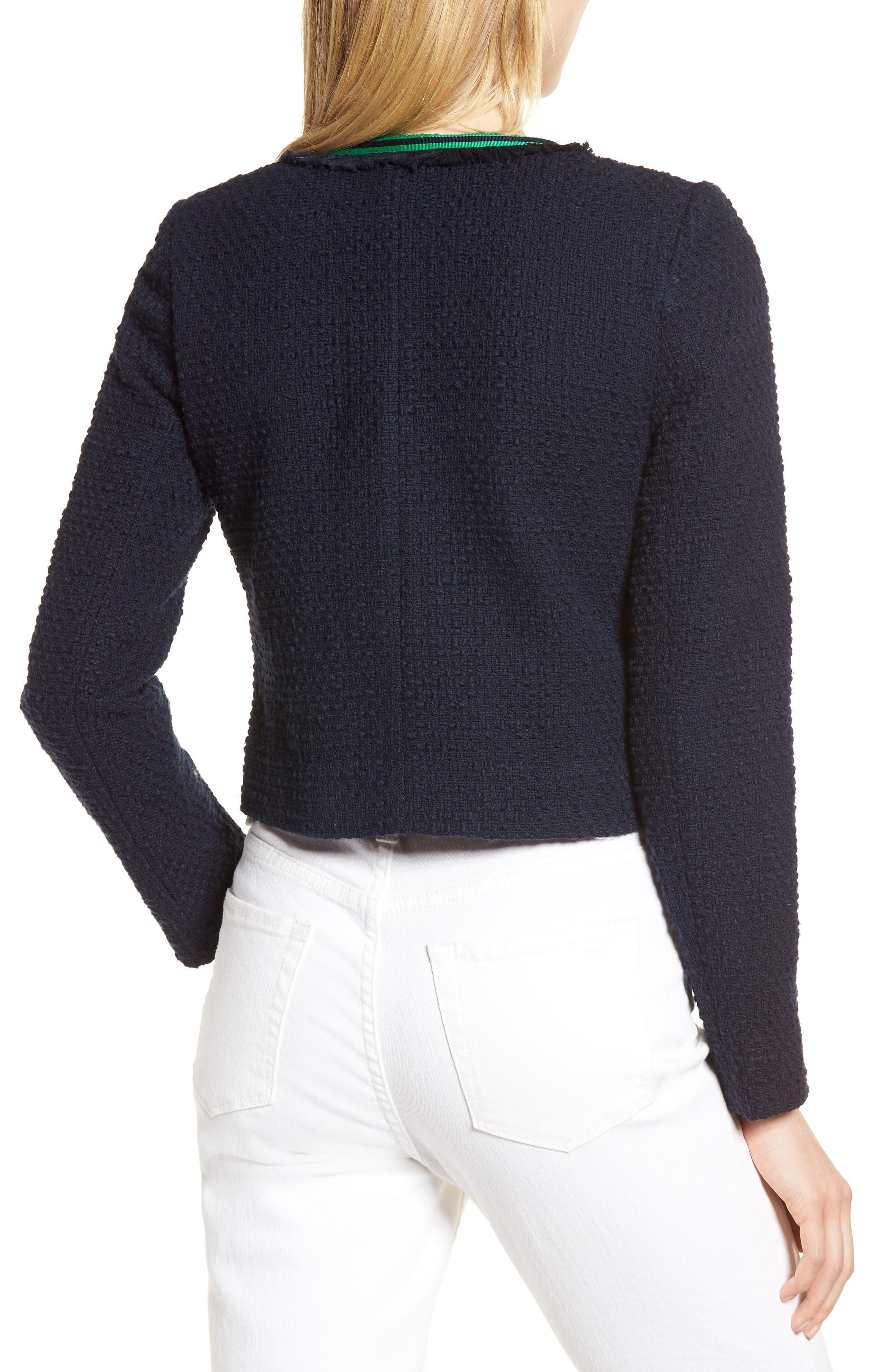 Ribbon Trim Textured Cotton Open Front Jacket,                             Alternate thumbnail 2, color,                             Navy Night