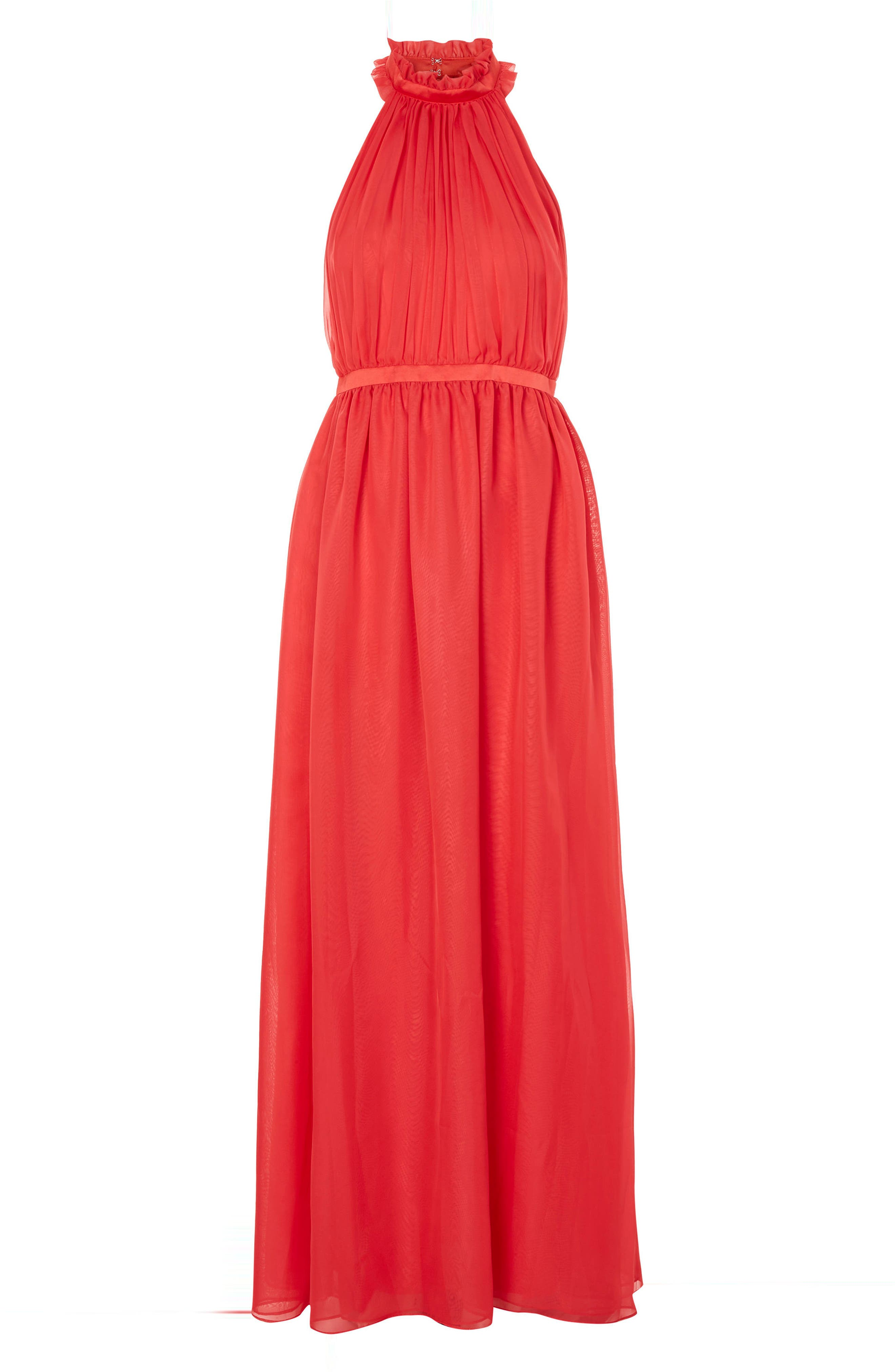 Taylor Halter Maxi Dress,                             Alternate thumbnail 4, color,                             Red