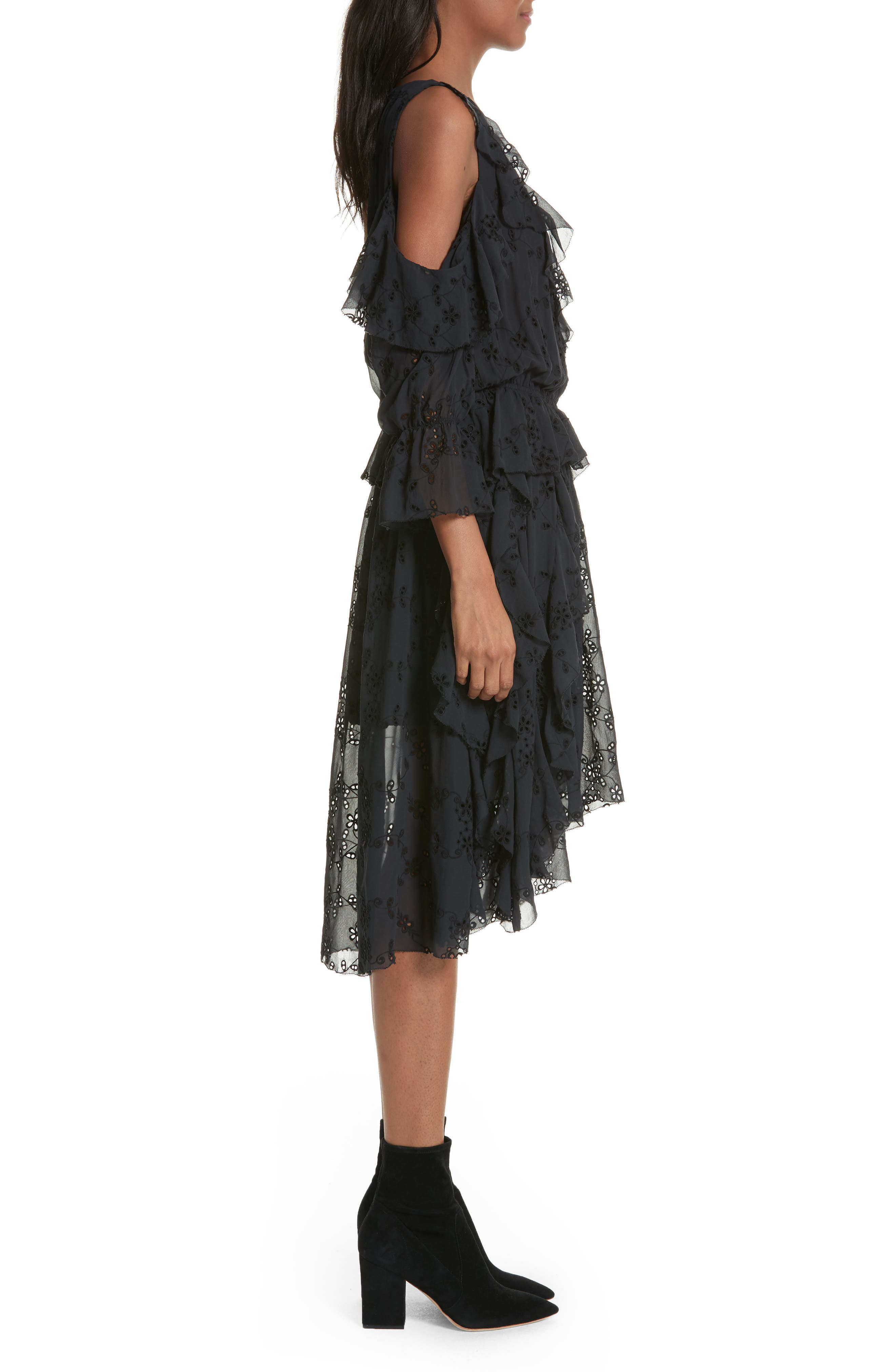 Alpheus Cold Shoulder Ruffled Silk Dress,                             Alternate thumbnail 3, color,                             Caviar/ Caviar