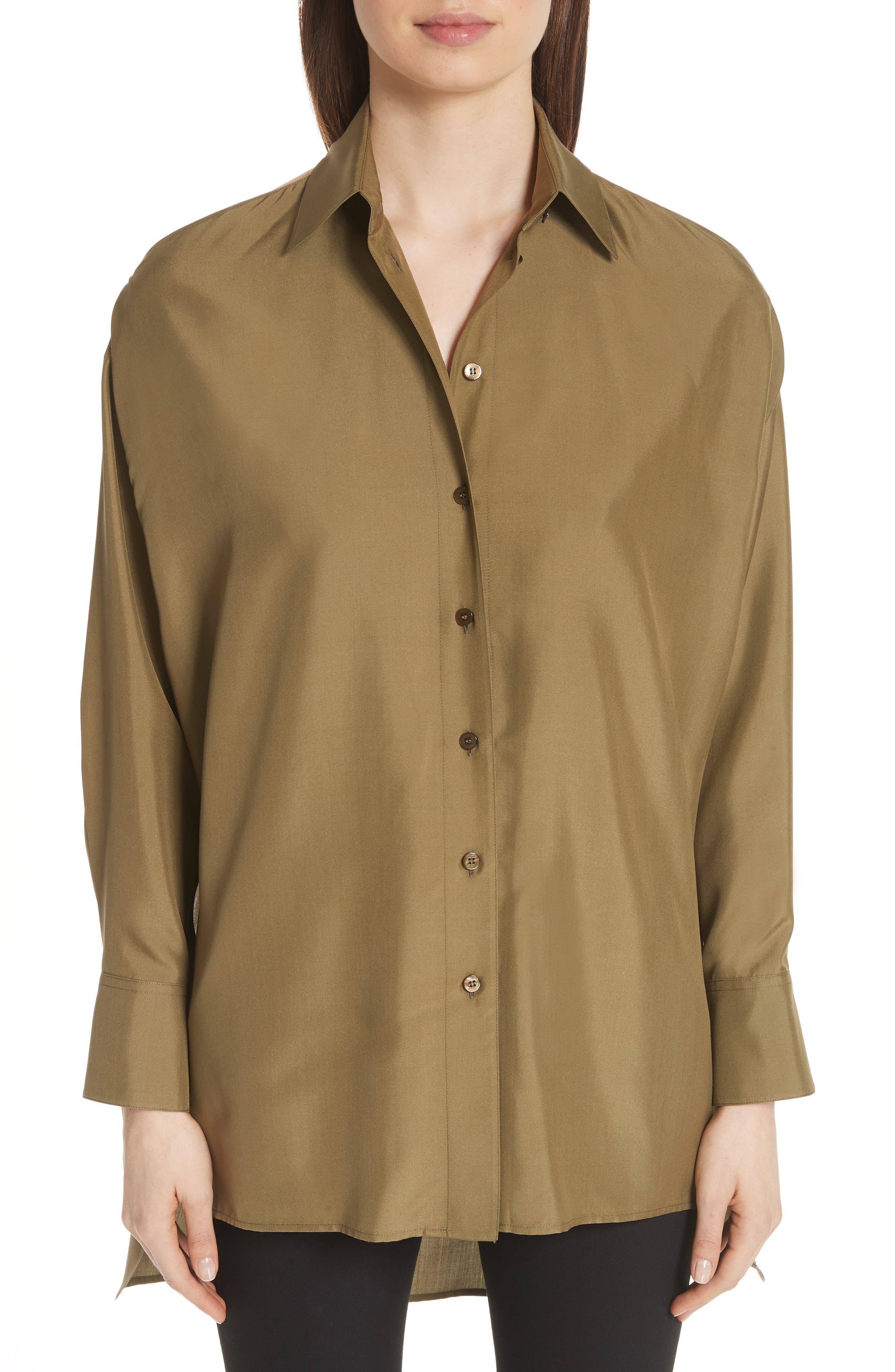 Valentino Back Yoke Cutout Silk Shirt