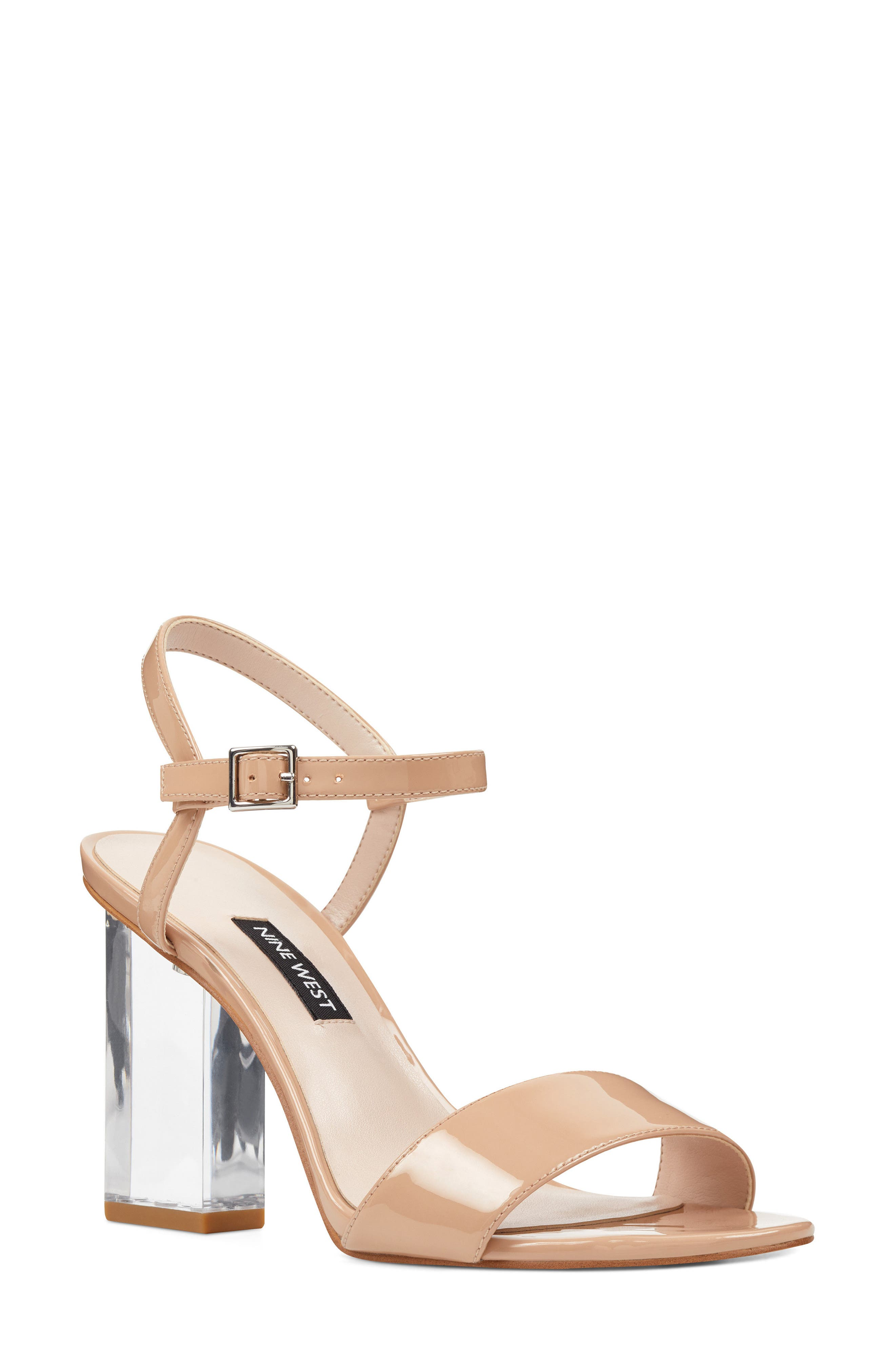 Feisty Ankle Strap Sandal,                             Main thumbnail 1, color,                             Nude Suede