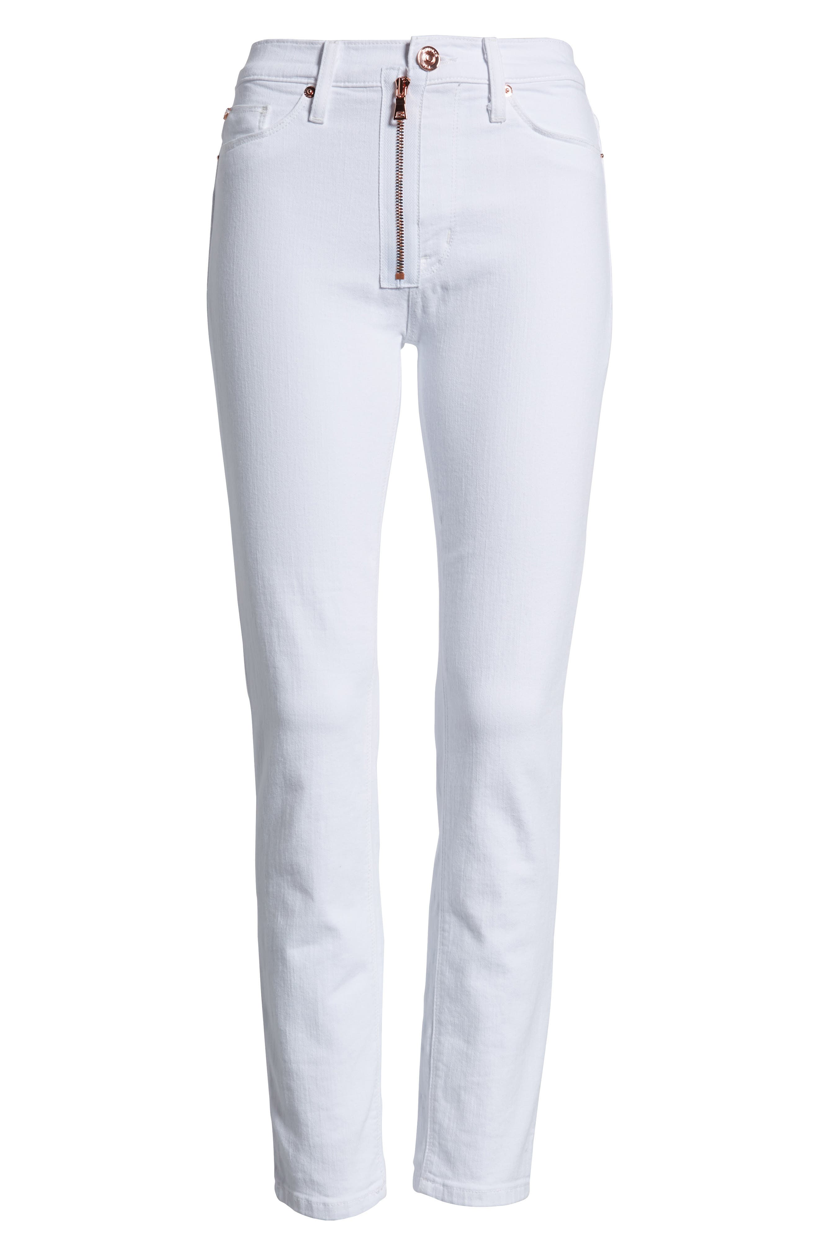 Barbara Exposed Zip High Waist Jeans,                             Alternate thumbnail 7, color,                             Optical White