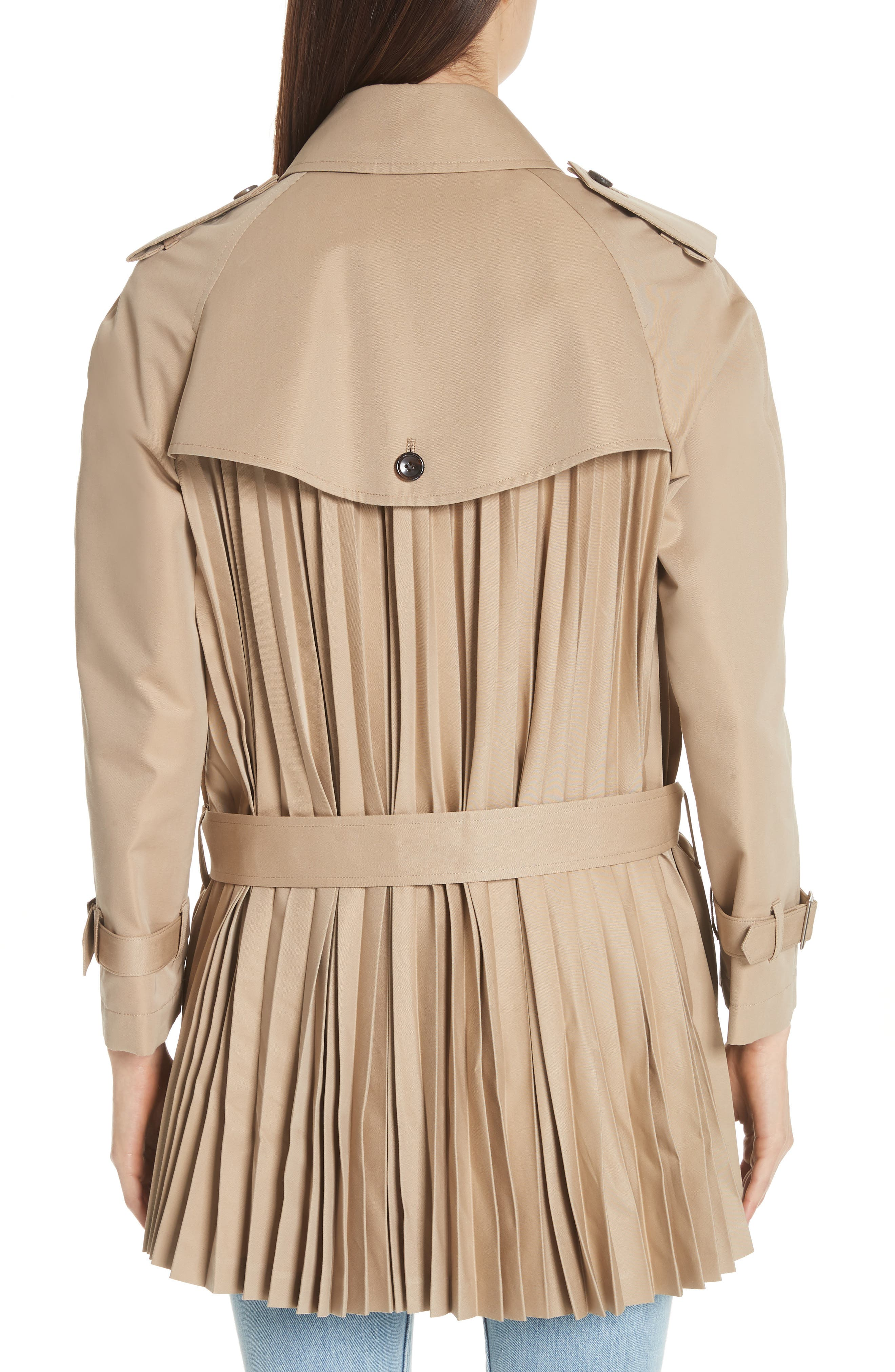 Pleated Cotton Blend Trench Coat,                             Alternate thumbnail 2, color,                             Beige