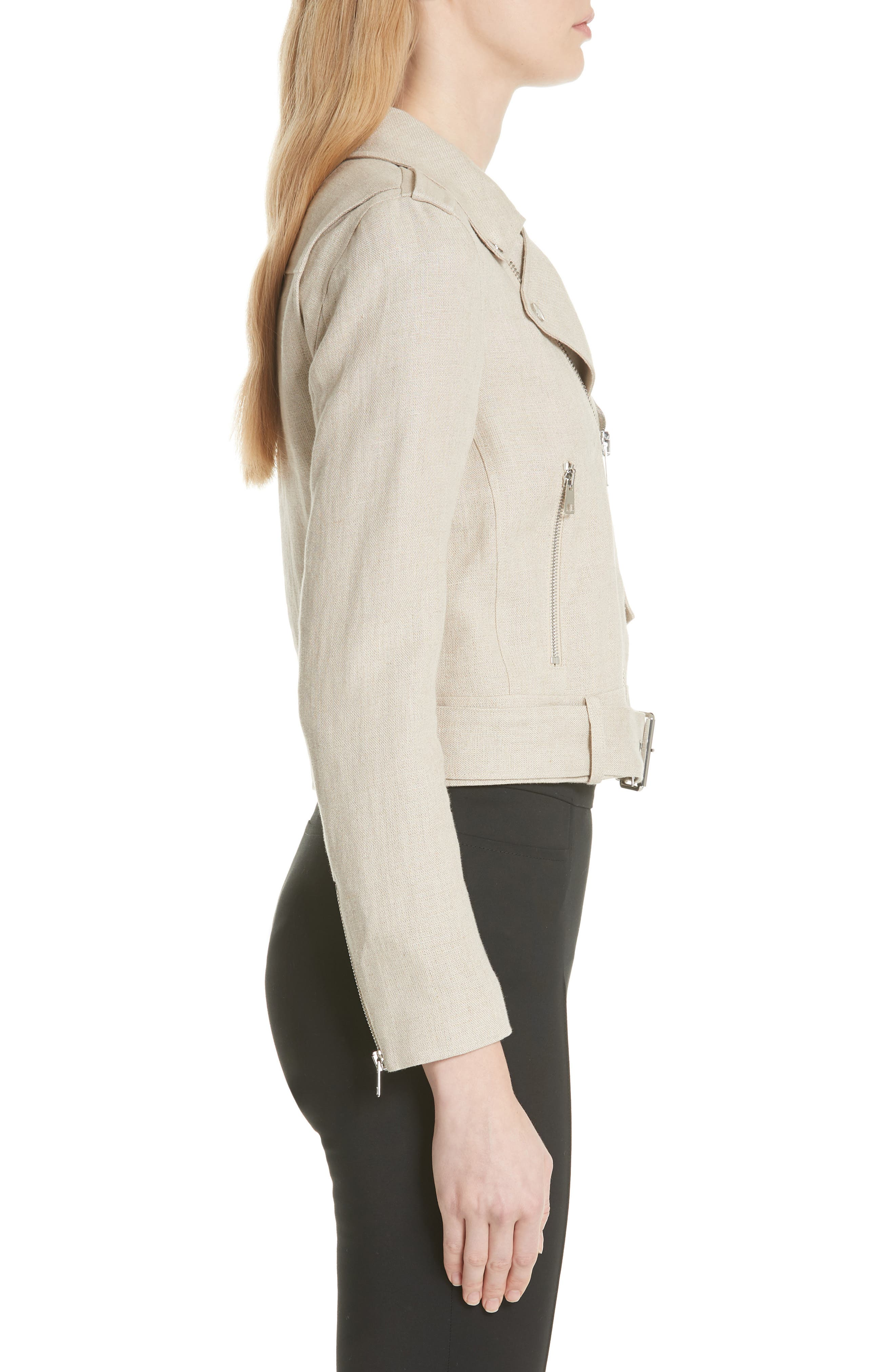 Shrunken Linen Moto Jacket,                             Alternate thumbnail 3, color,                             Flax/ Natural