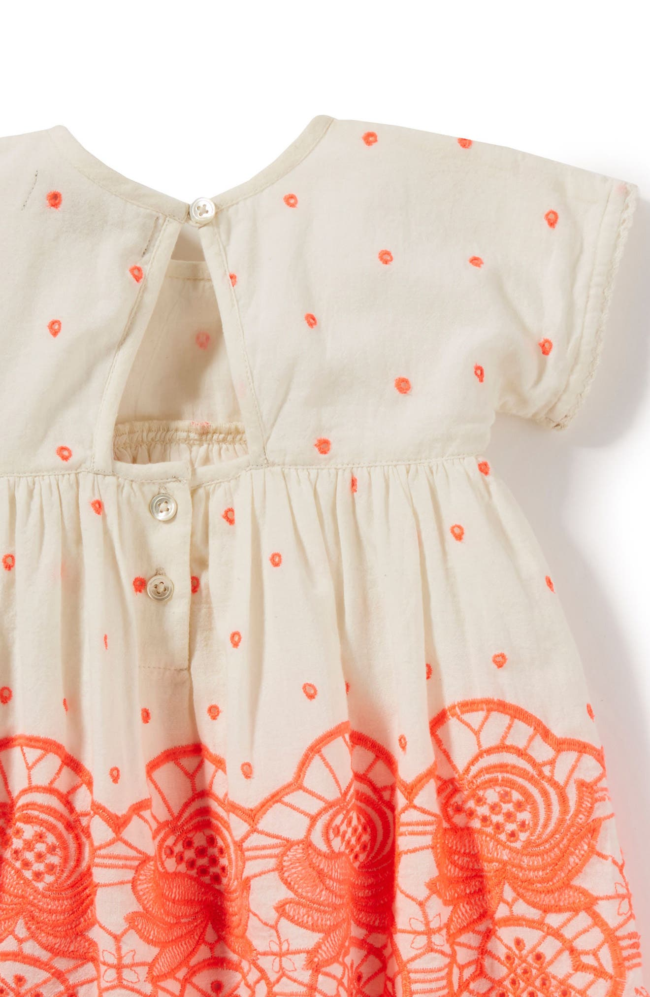 Sun Embroidered Dress,                             Alternate thumbnail 2, color,                             Neon Coral