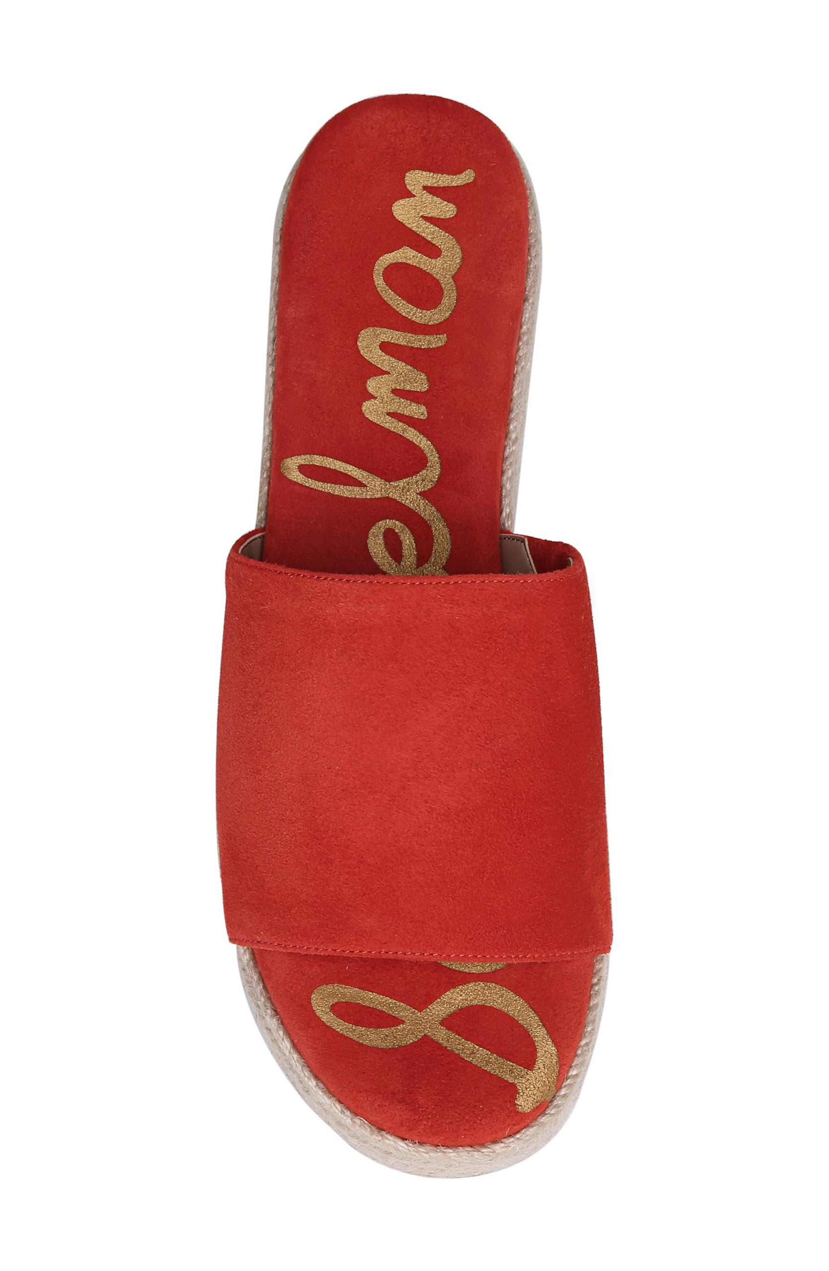 Weslee Platform Slide Sandal,                             Alternate thumbnail 5, color,                             Candy Red Suede