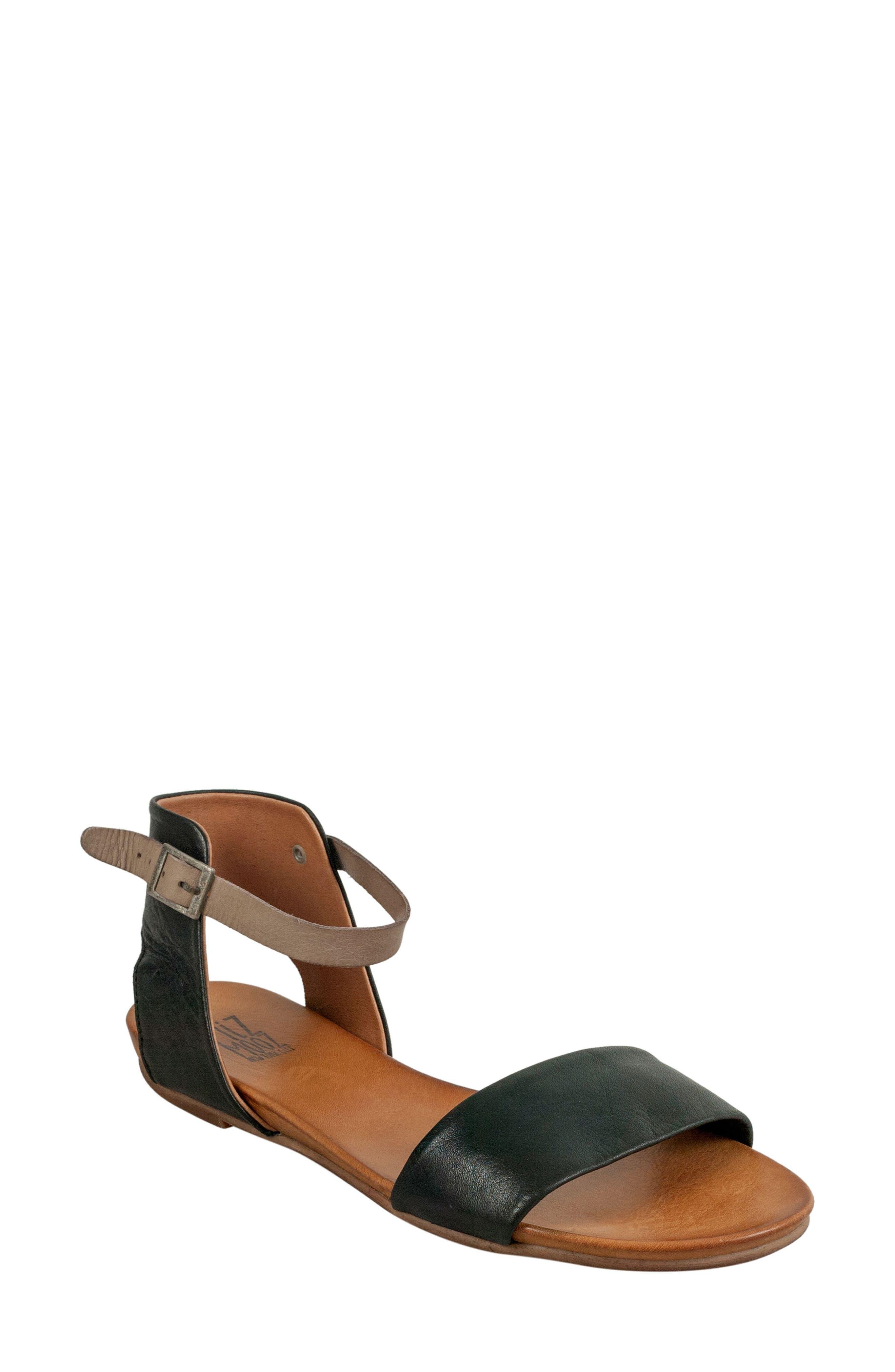 'Alanis' Sandal,                             Main thumbnail 1, color,                             Black Leather