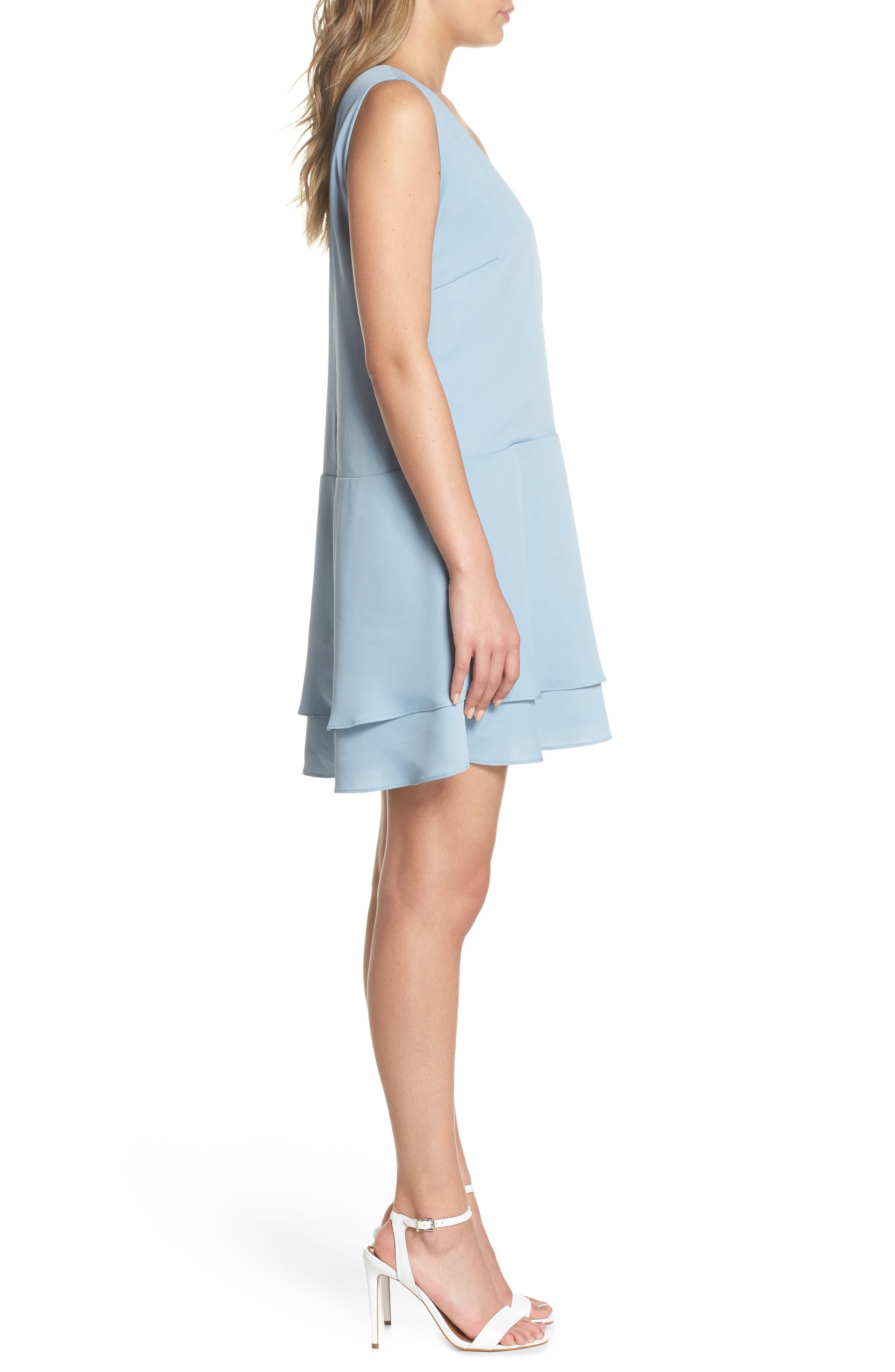 Florence V-Neck Minidress,                             Alternate thumbnail 3, color,                             Allure Blue