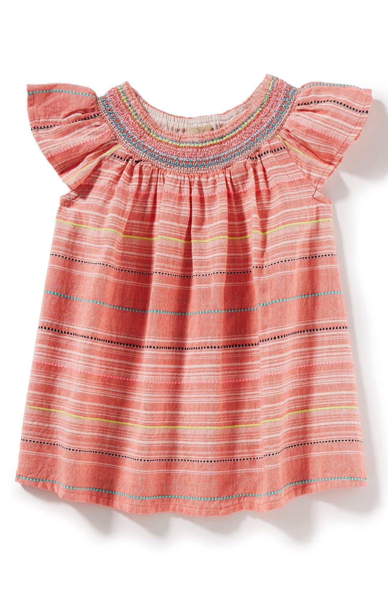 Harper Woven Stripe Dress,                         Main,                         color, Hot Pink