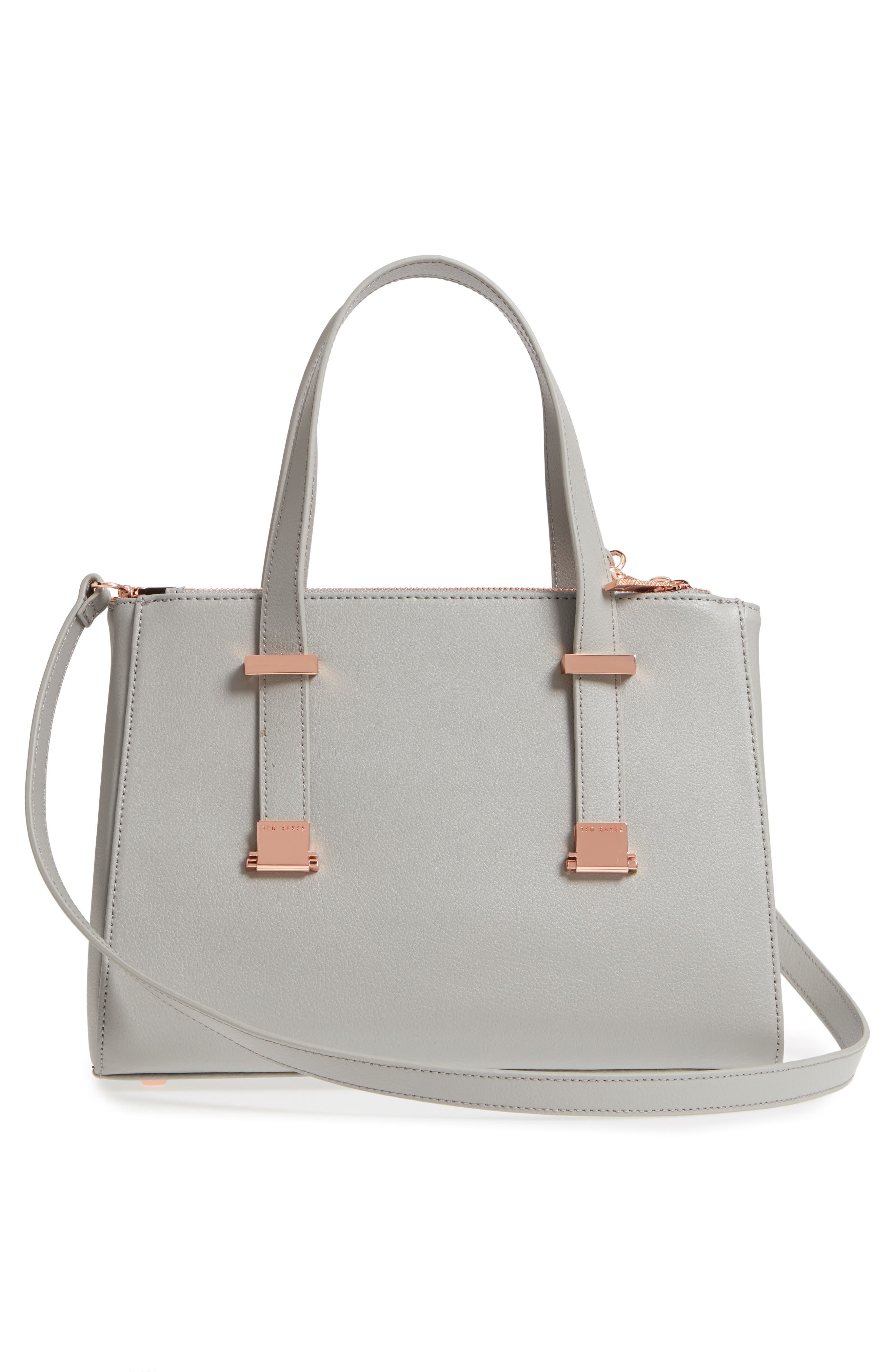 Audreyy Small Adjustable Handle Leather Shopper,                             Alternate thumbnail 3, color,                             Mid Grey
