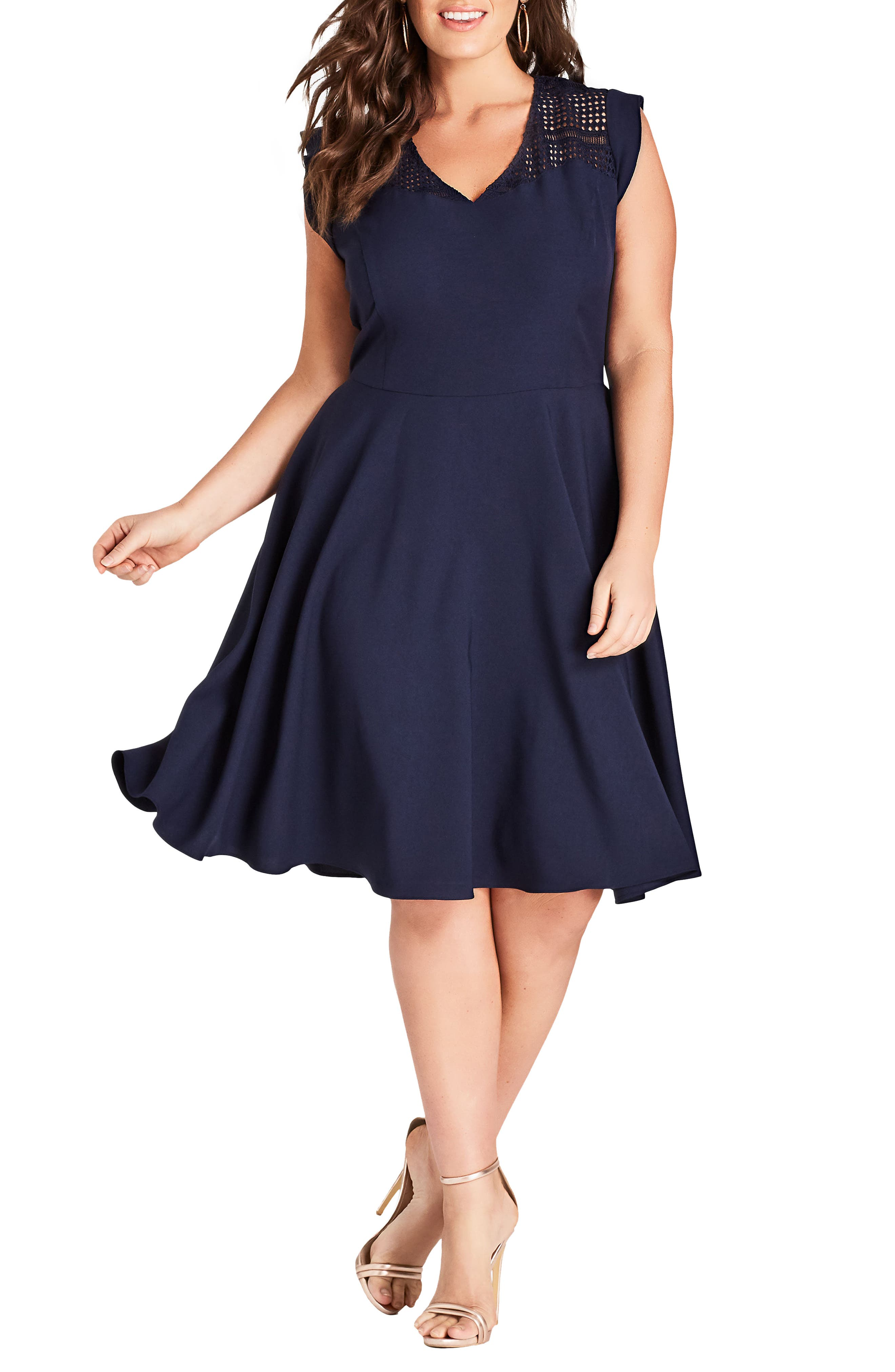 First Place Crochet Yoke Fit & Flare Dress,                         Main,                         color, Navy