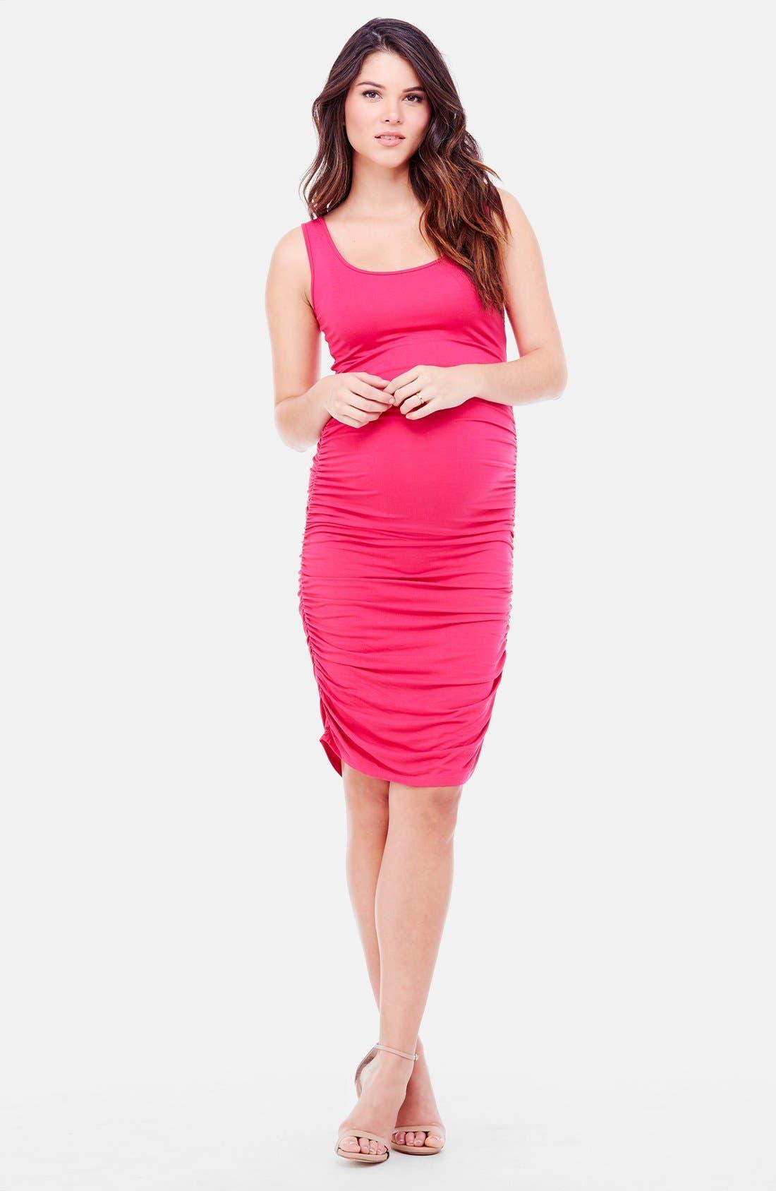 Shirred Maternity Tank Dress,                         Main,                         color, Berry