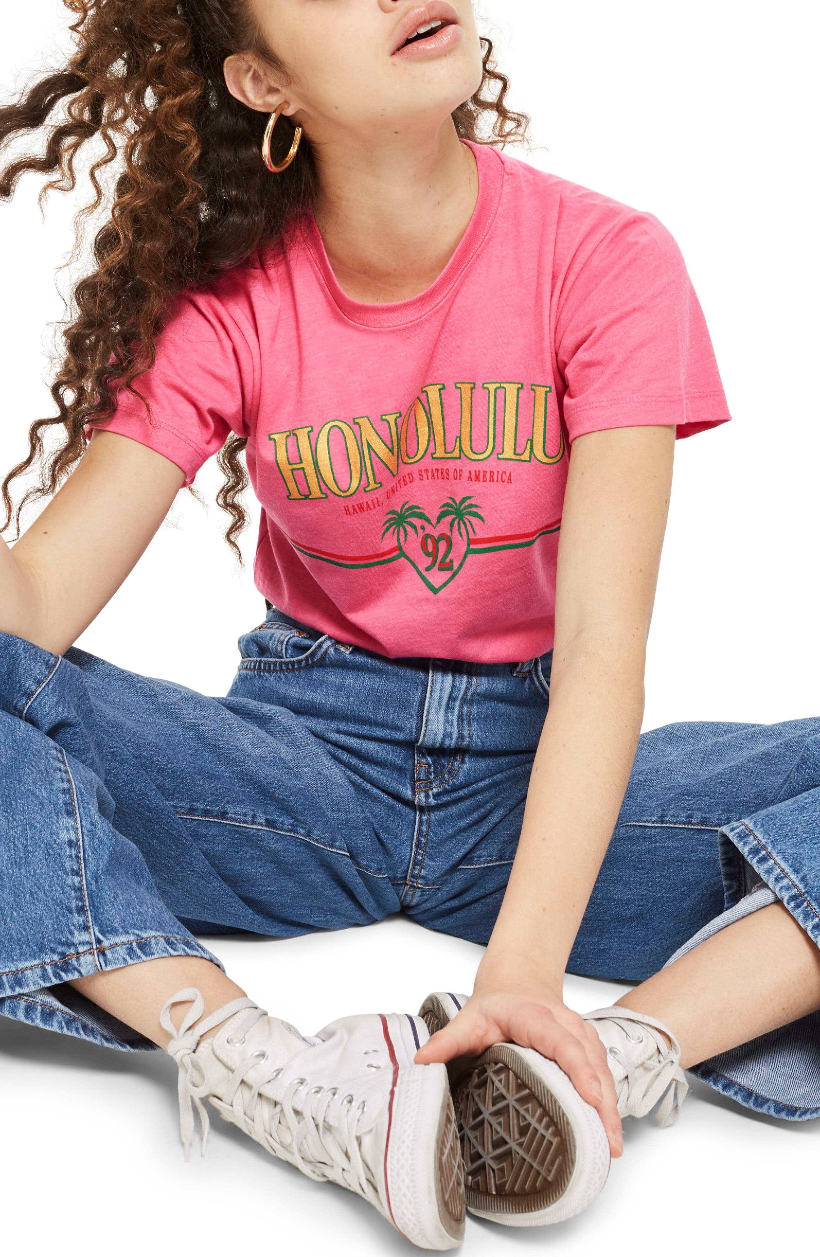 Honolulu Motif T-Shirt,                         Main,                         color, Pink Multi